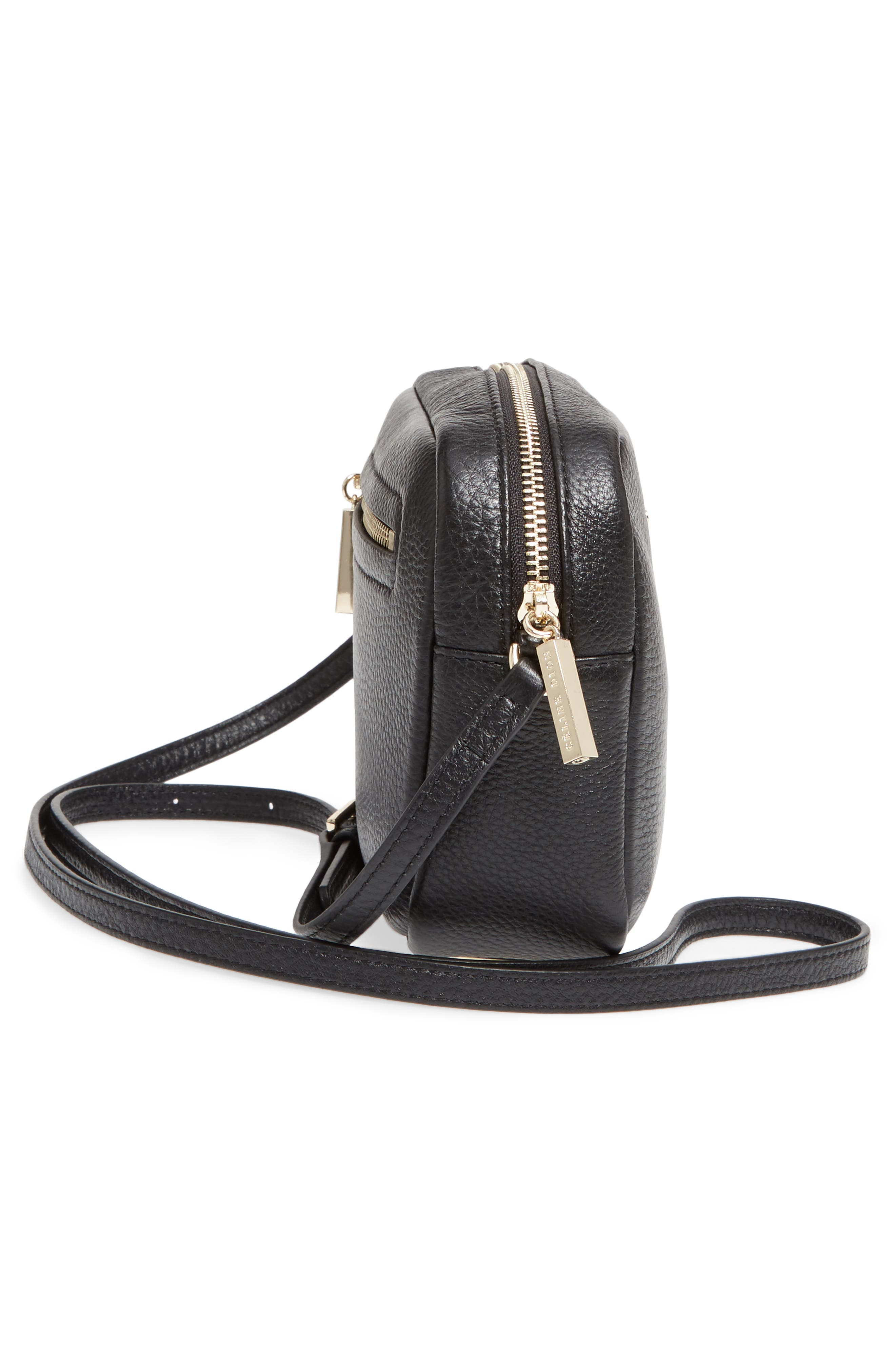 Céline Dion Adagio Leather Camera Crossbody Bag,                             Alternate thumbnail 5, color,                             Black
