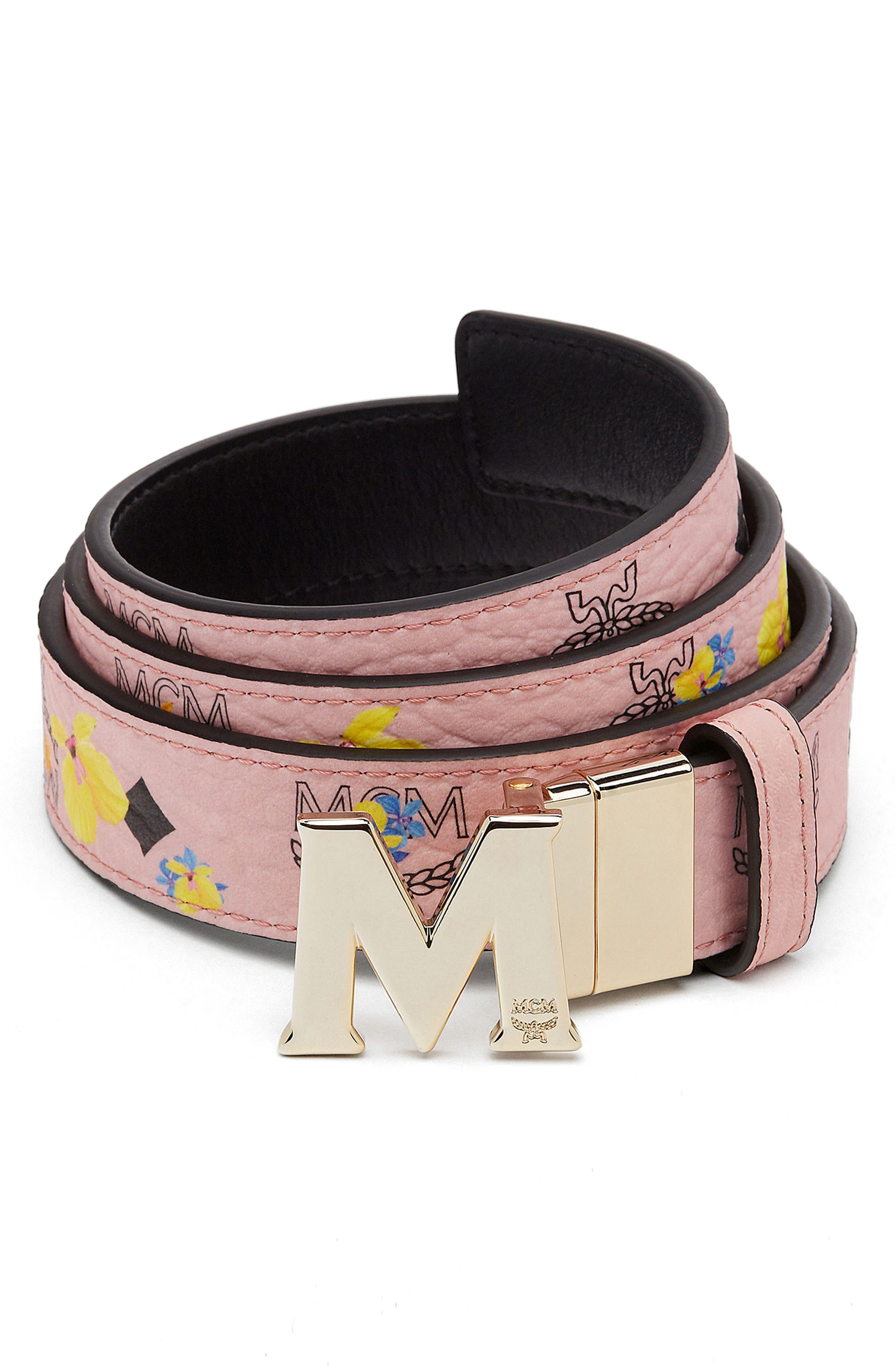MCM Essential Floral Flat M Logo Buckle Reversible Belt