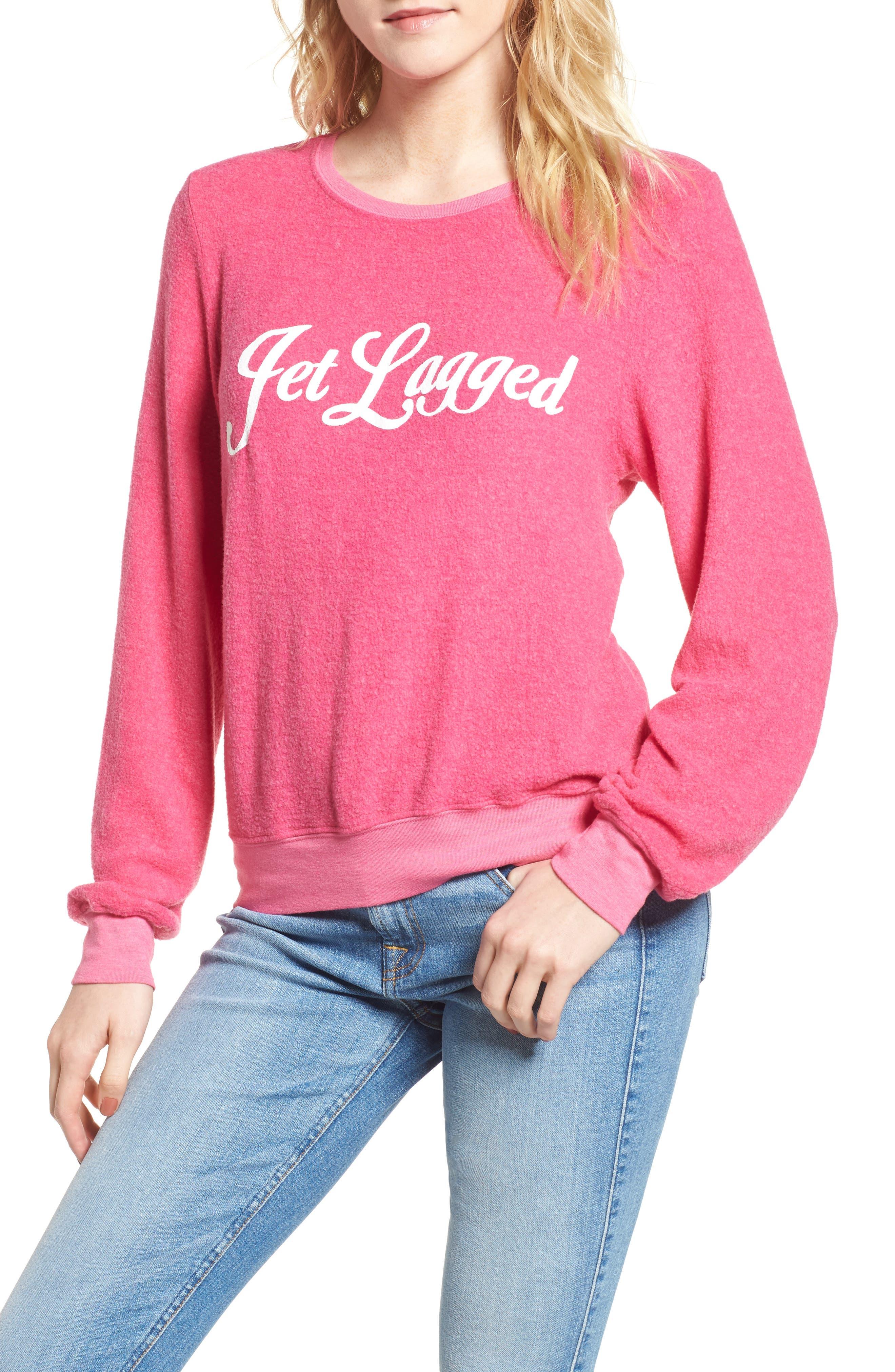 Jet Lagged Sweatshirt,                             Main thumbnail 1, color,                             Malibu Pink