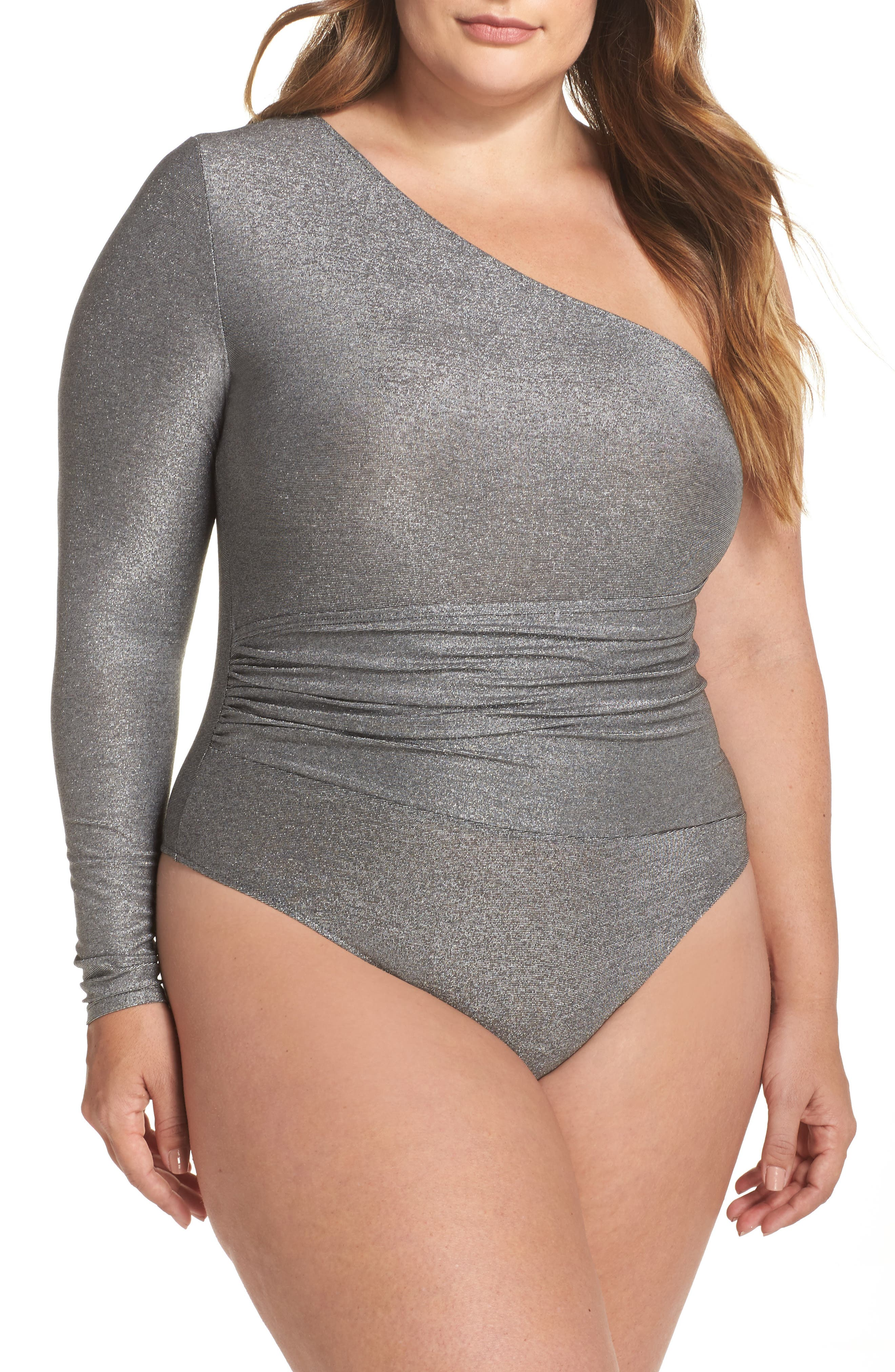 One-Shoulder Thong Bodysuit,                         Main,                         color, Gunmetal
