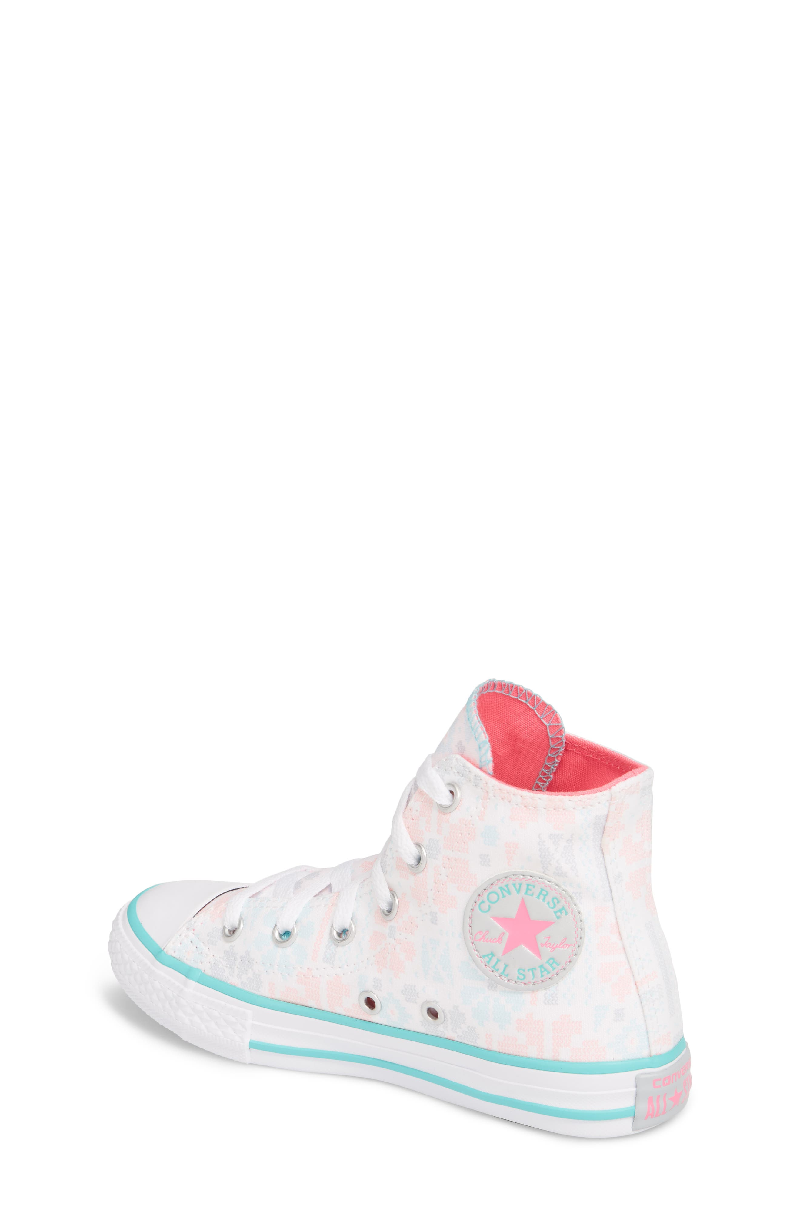 Chuck Taylor<sup>®</sup> All Star<sup>®</sup> High Top Sneaker,                             Alternate thumbnail 2, color,                             White/ Pink Canvas