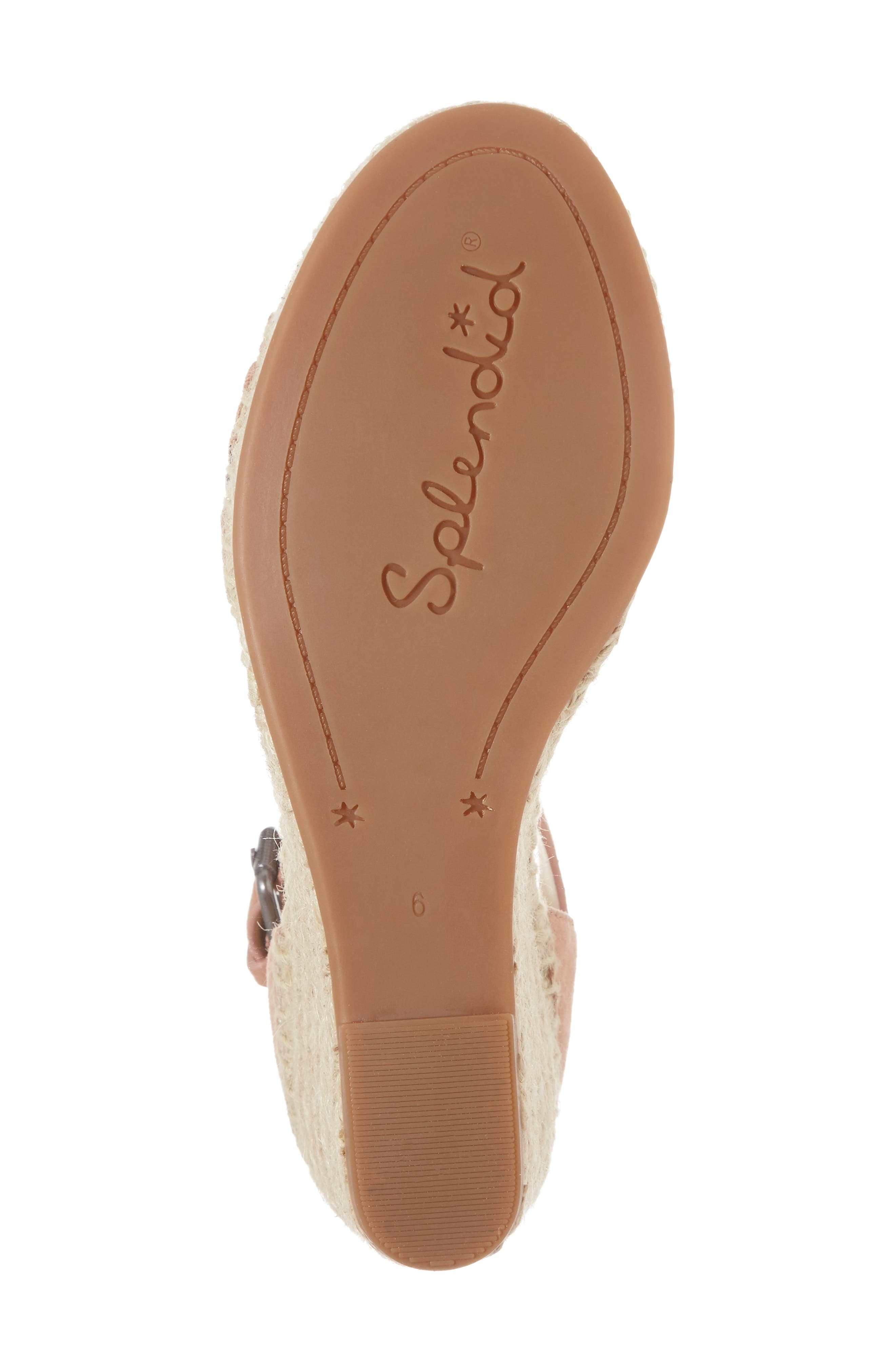 Bedford Espadrille Wedge Sandal,                             Alternate thumbnail 6, color,                             Dark Blush Suede