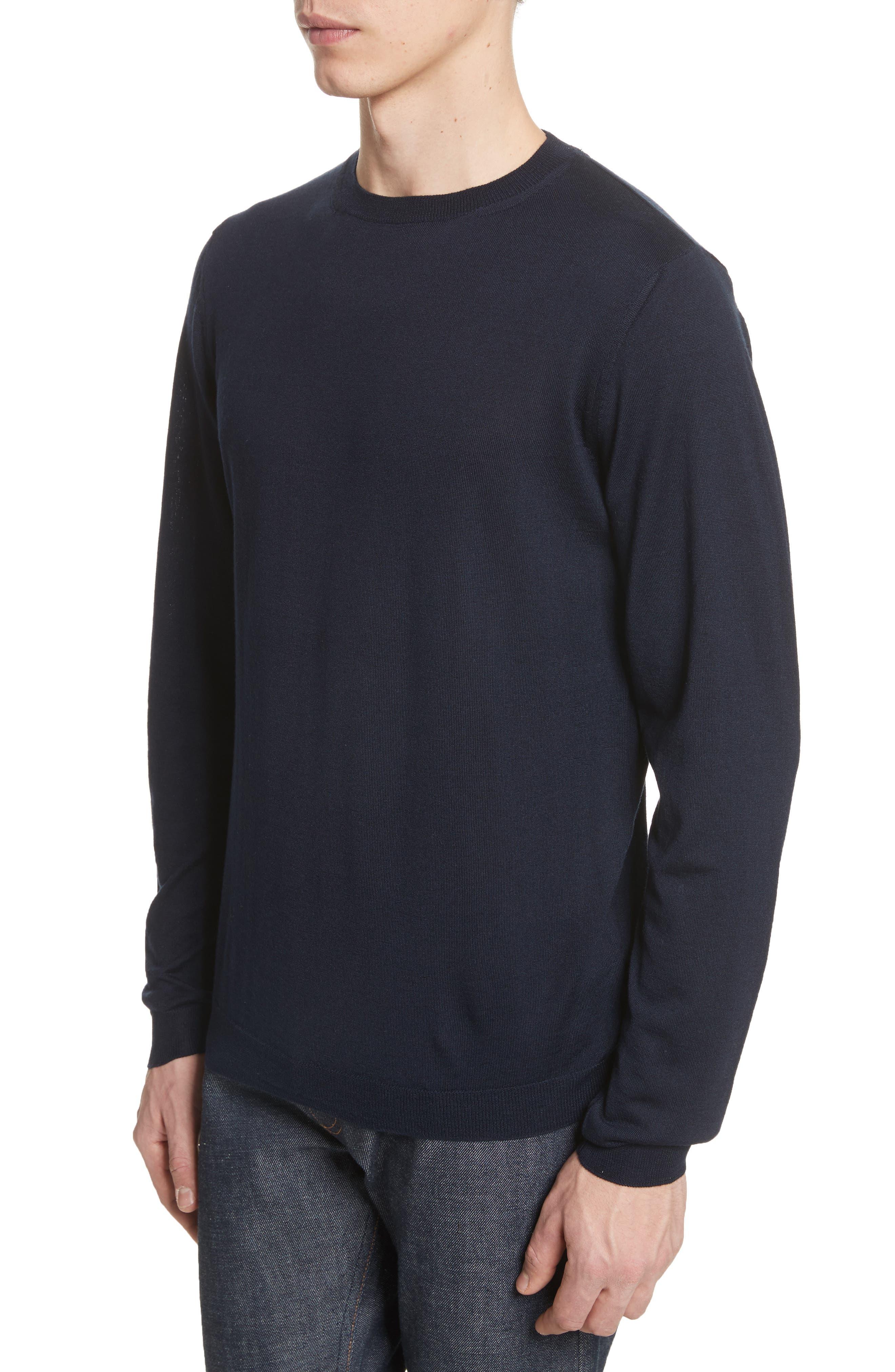 Sigfred Merino Wool & Silk Crewneck Sweater,                             Alternate thumbnail 4, color,                             Dark Navy