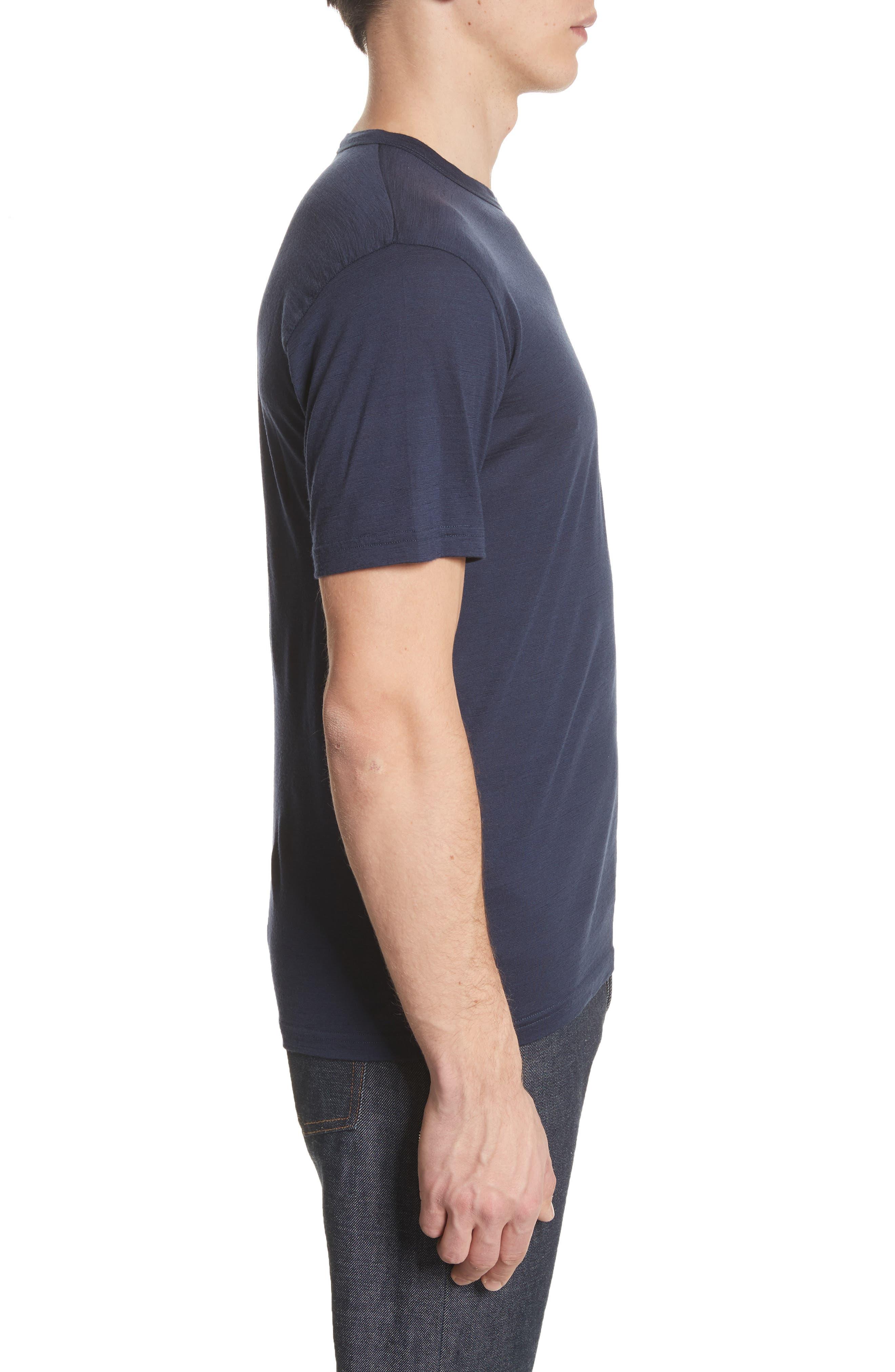 Jesper Mercerized Wool T-Shirt,                             Alternate thumbnail 3, color,                             Navy