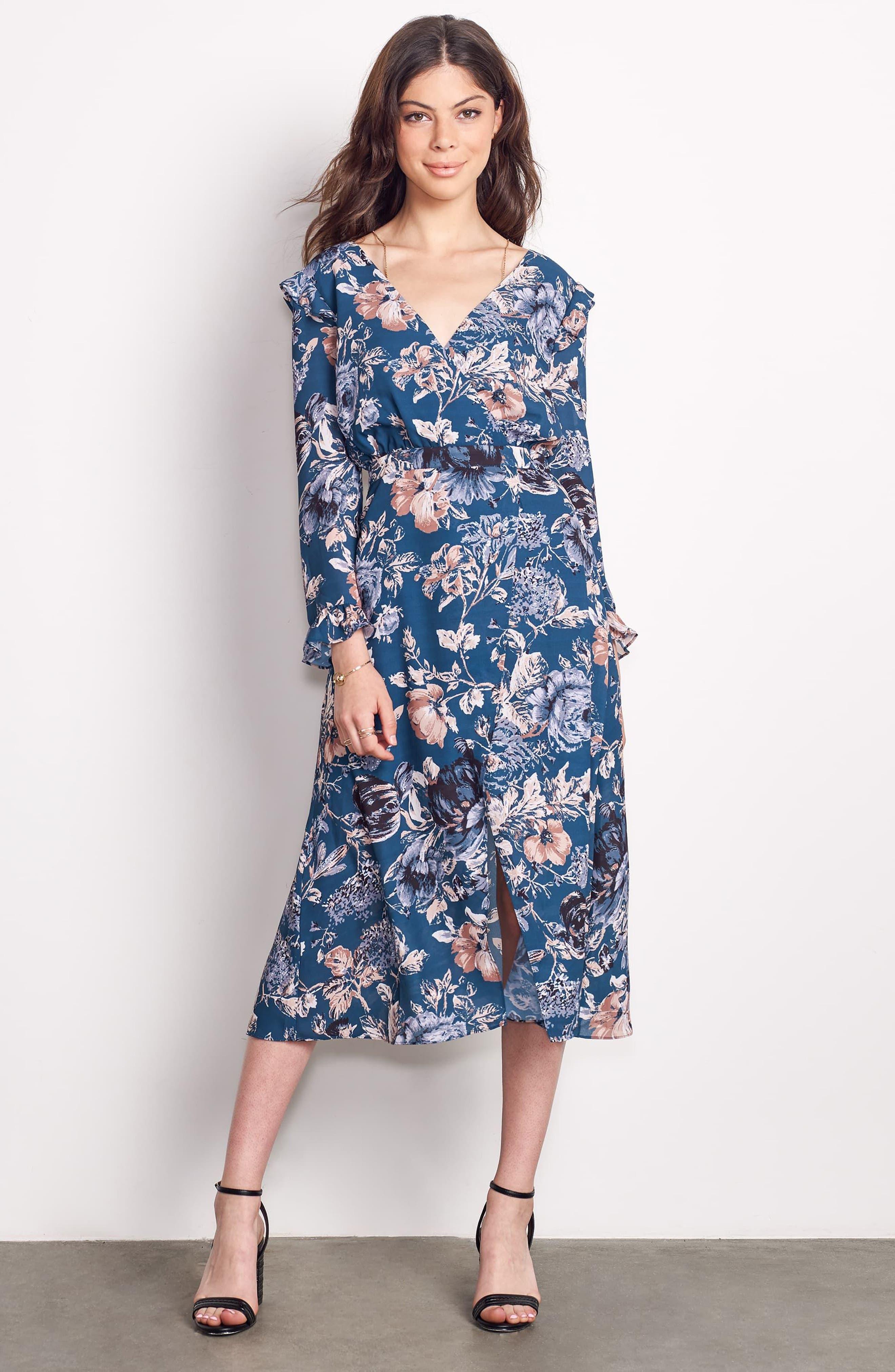 Je T'aime Midi Dress,                             Alternate thumbnail 2, color,                             Spruce Floral