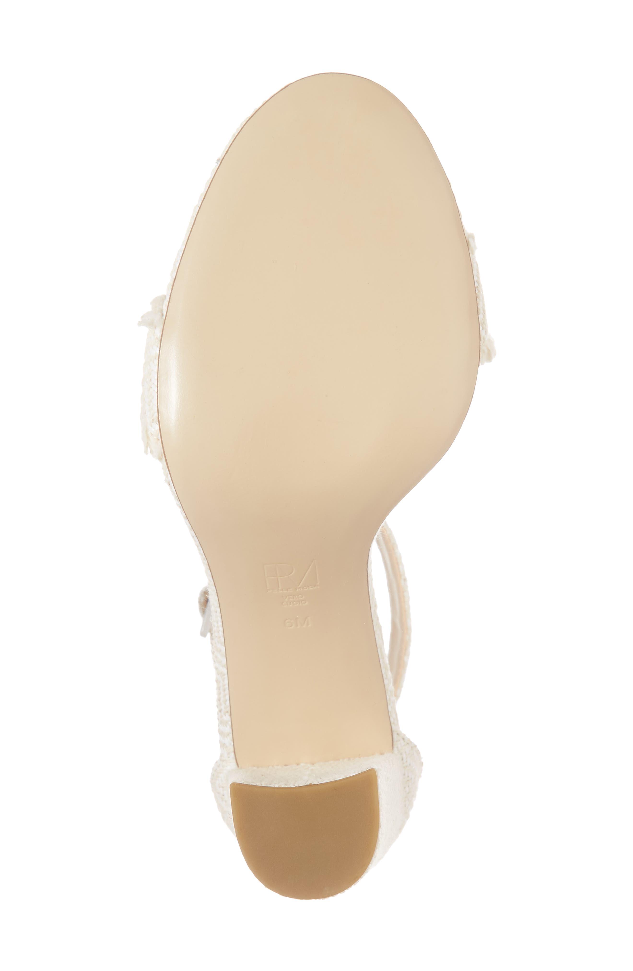 Bonnie Ankle Strap Sandal,                             Alternate thumbnail 6, color,                             White Herringbone