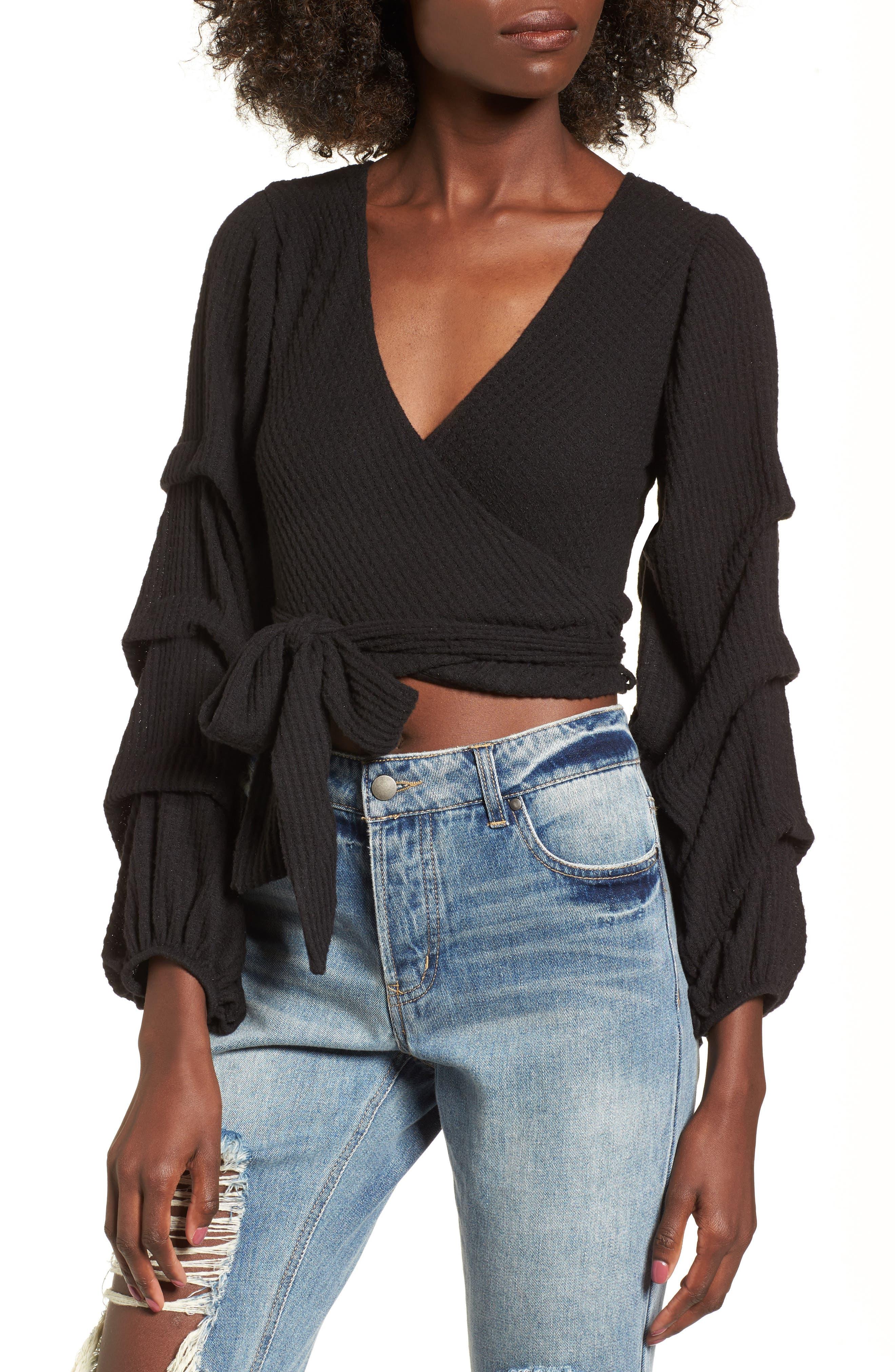 Wrap Sweater,                         Main,                         color, Black
