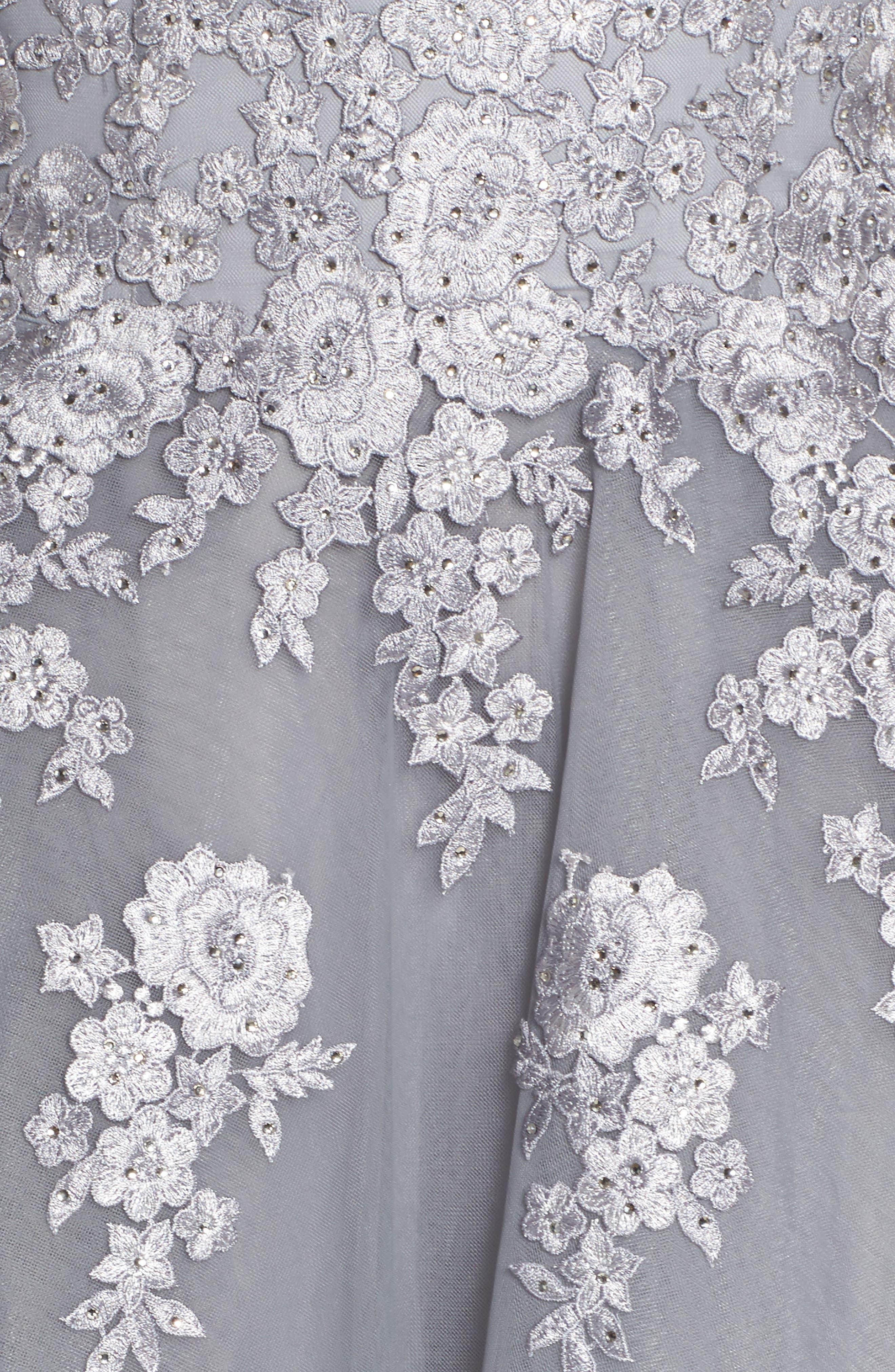 Alternate Image 5  - La Femme Embellished Mesh Halter Ballgown