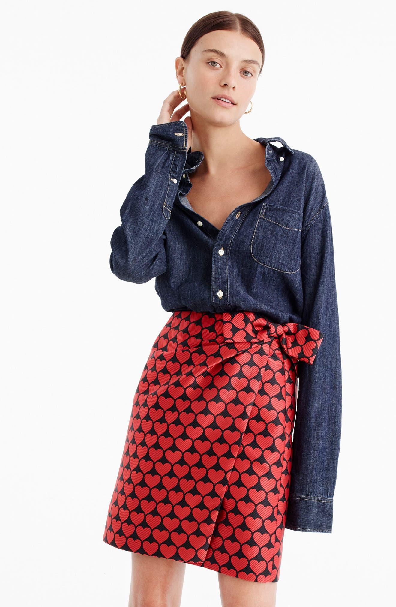 Castlebar Snuggle Heart Skirt,                             Alternate thumbnail 2, color,                             Electric Red