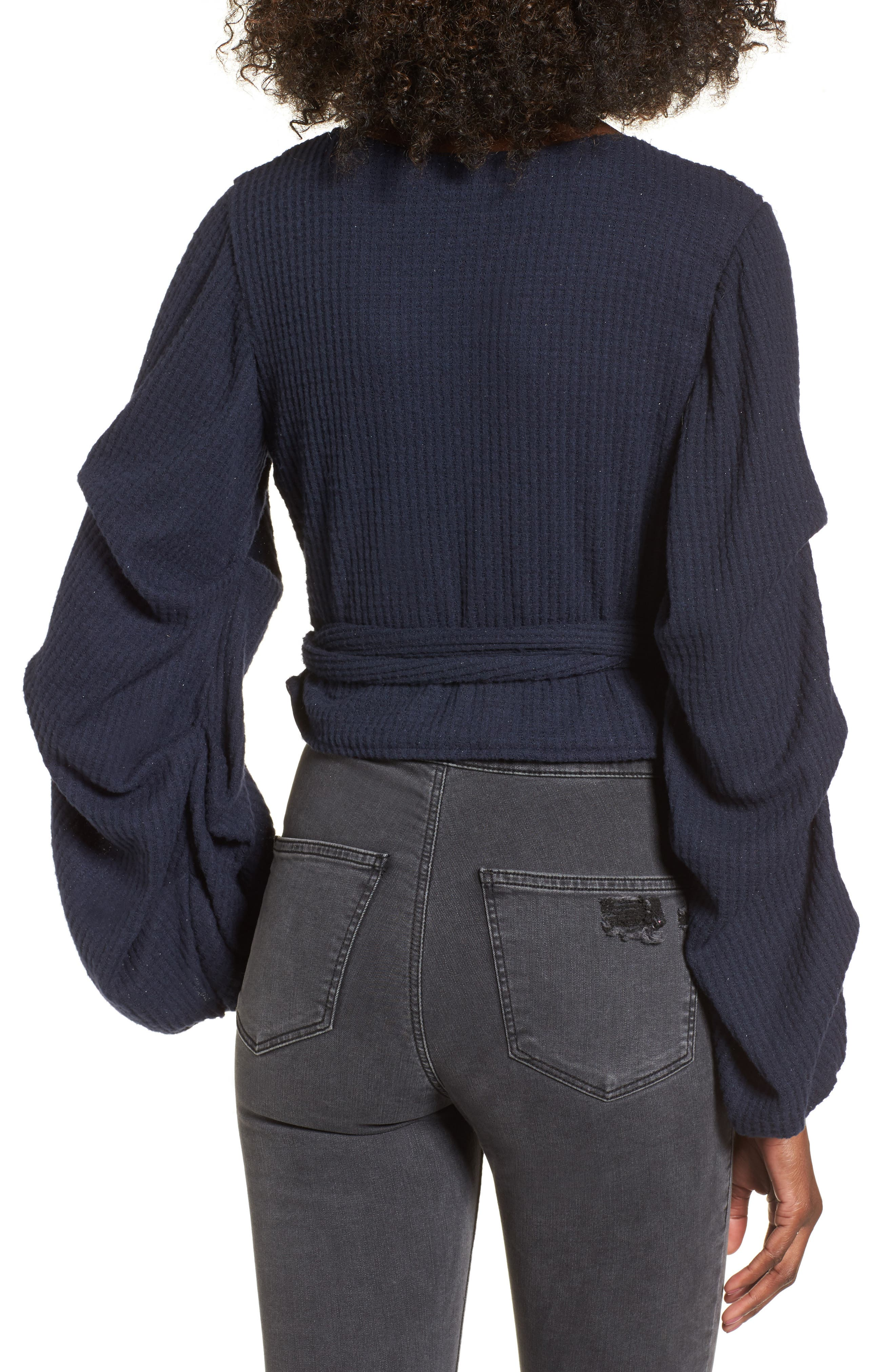 Wrap Sweater,                             Alternate thumbnail 2, color,                             Navy