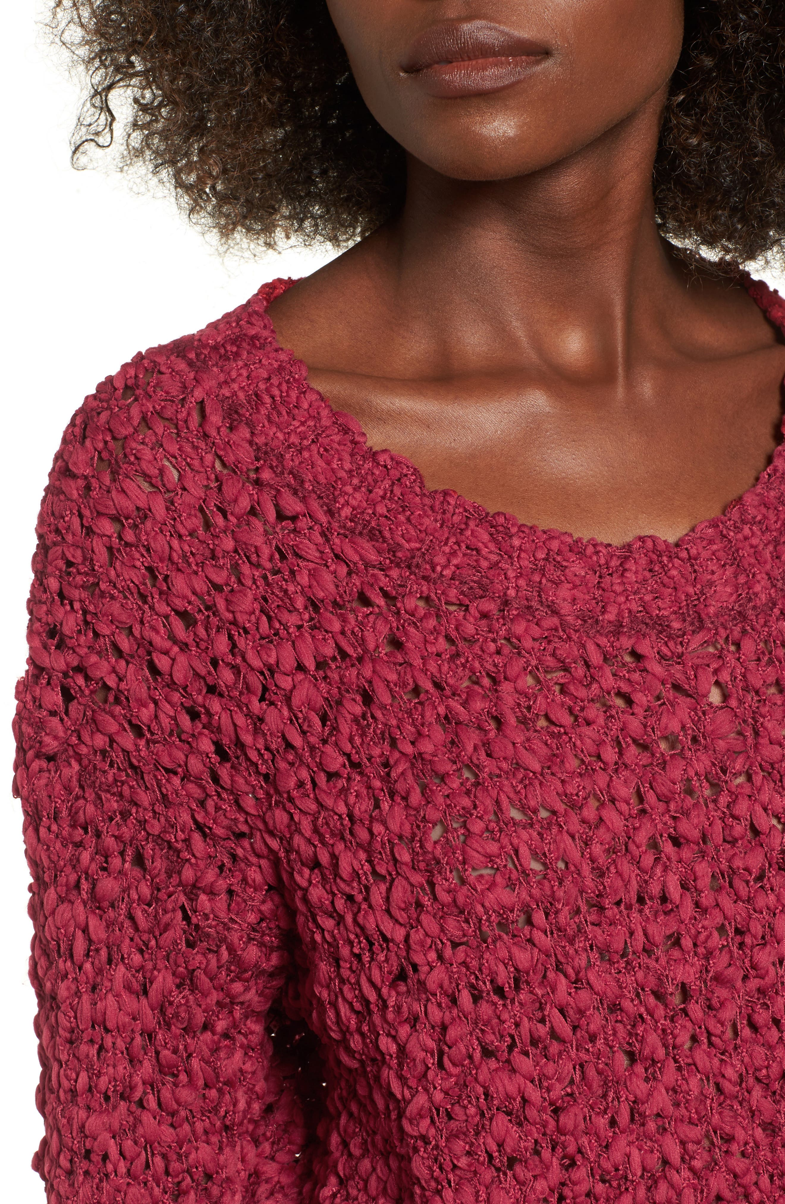 Knit Sweater,                             Alternate thumbnail 4, color,                             Rouge