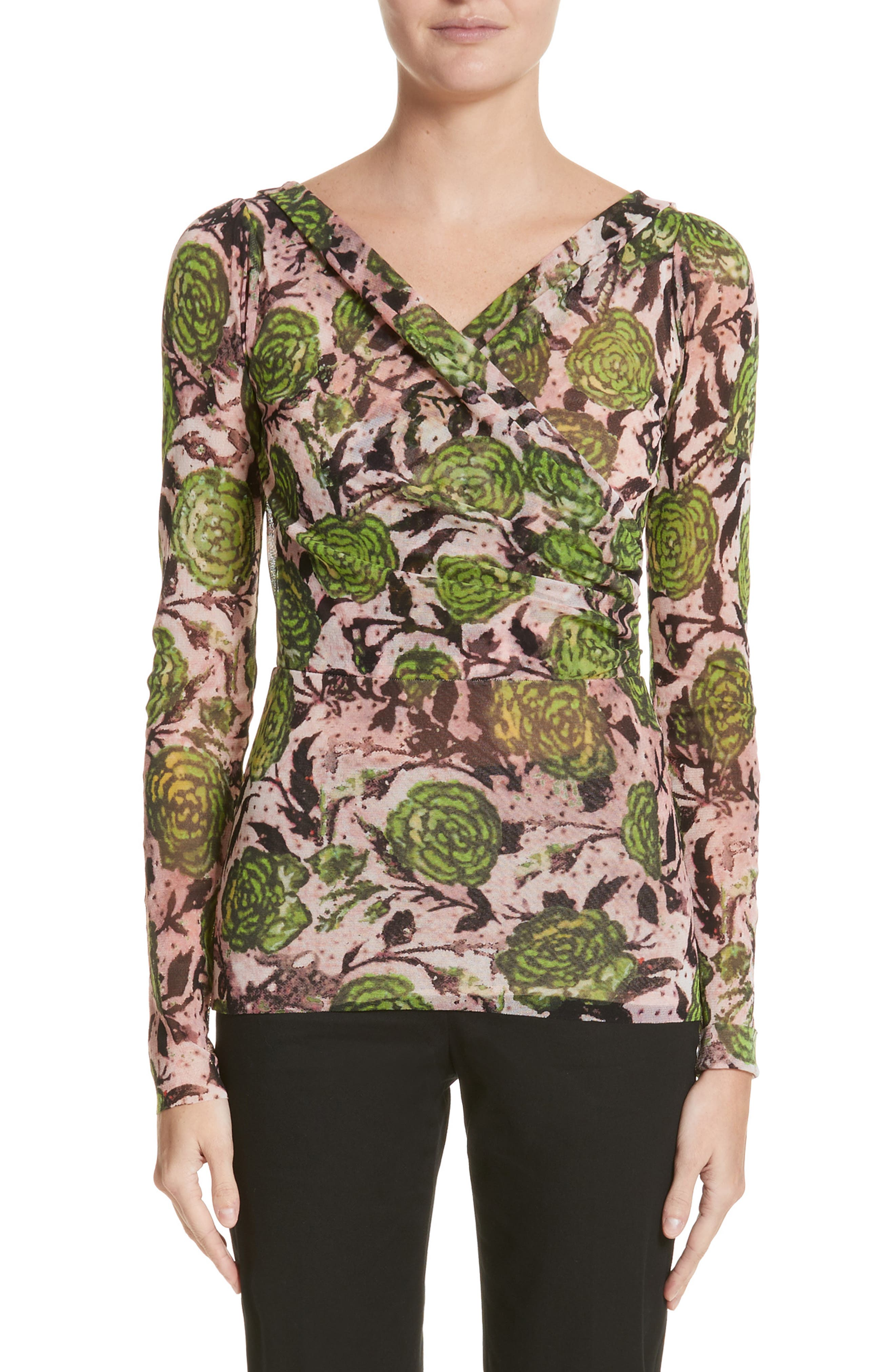 Fuzzi Ruched Front Floral Print Top