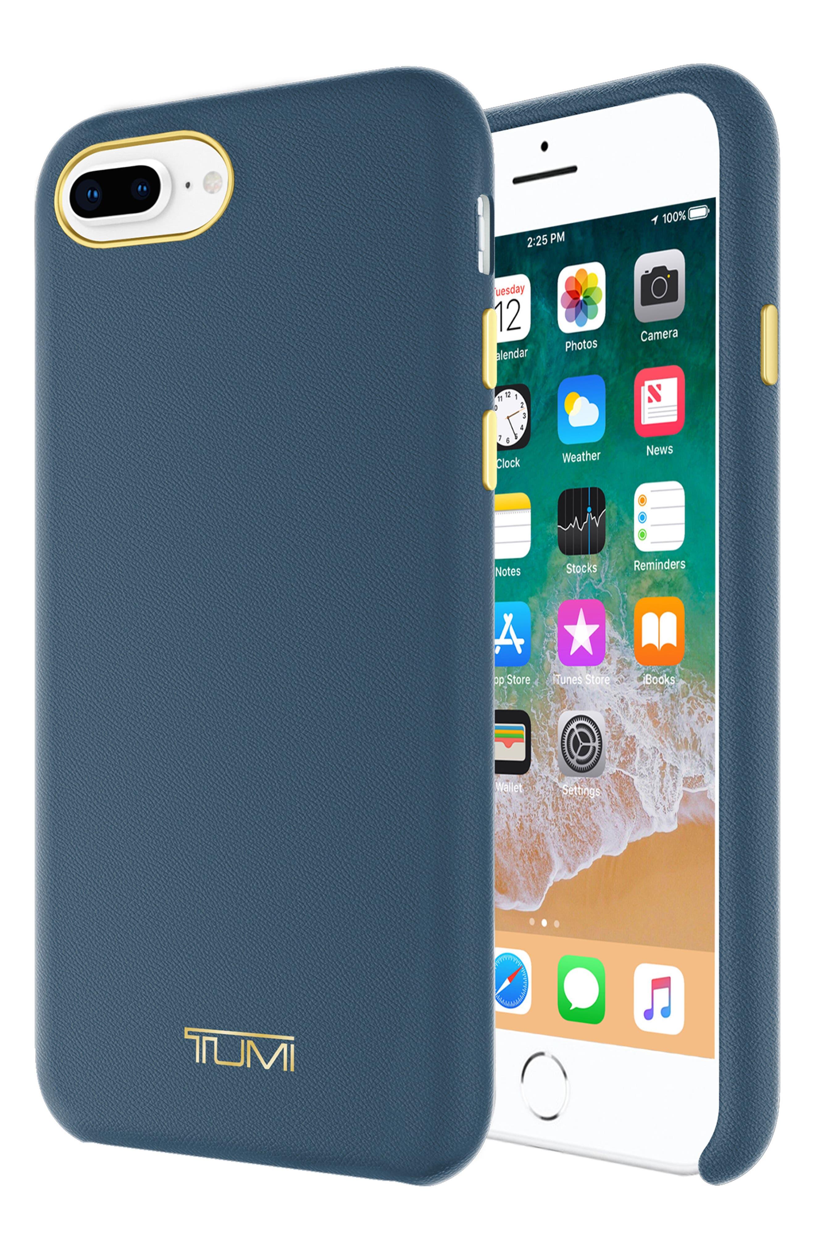 Leather Wrap iPhone 8 Plus Case,                             Alternate thumbnail 4, color,                             Navy