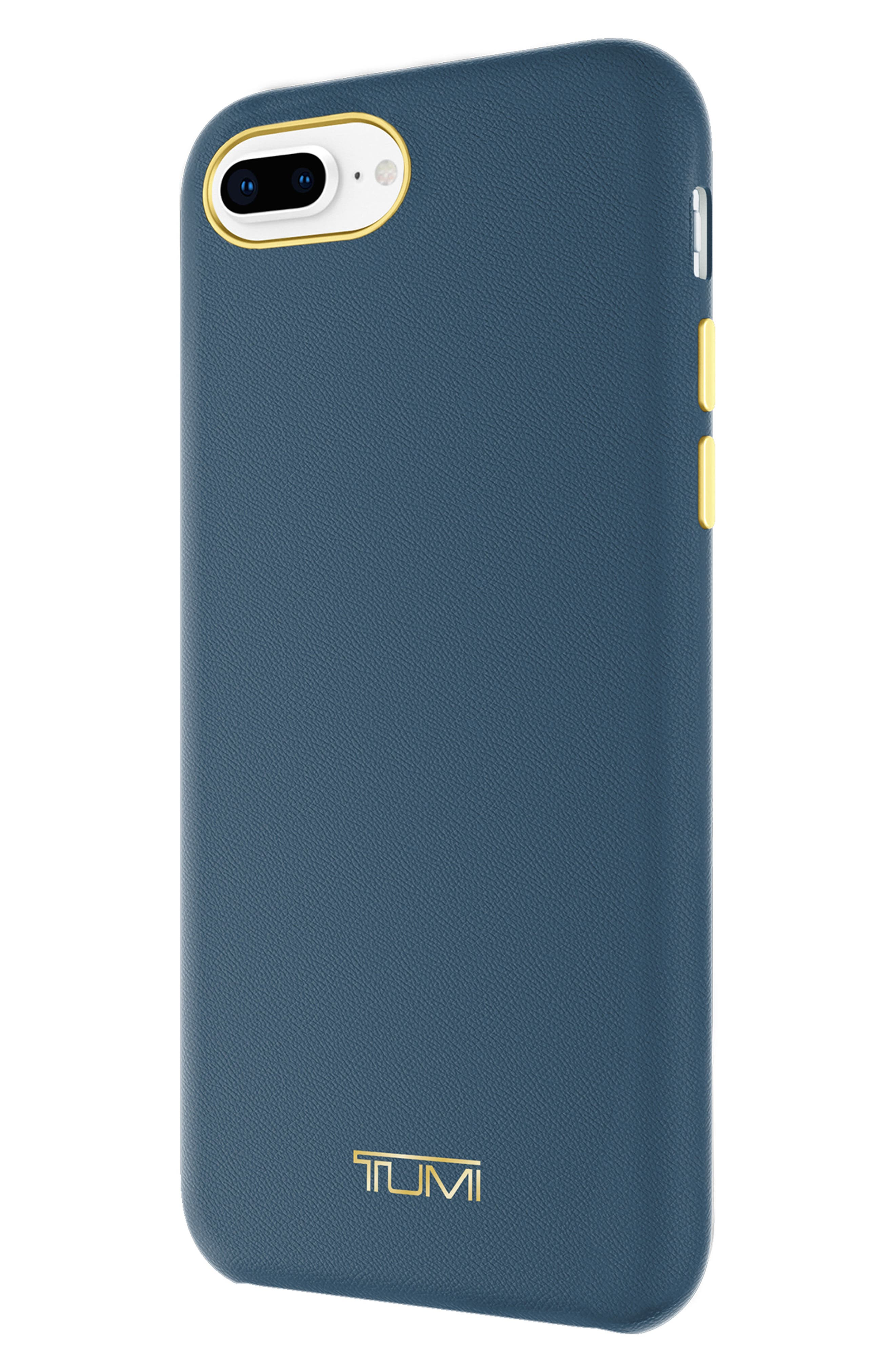 Leather Wrap iPhone 8 Plus Case,                             Alternate thumbnail 3, color,                             Navy