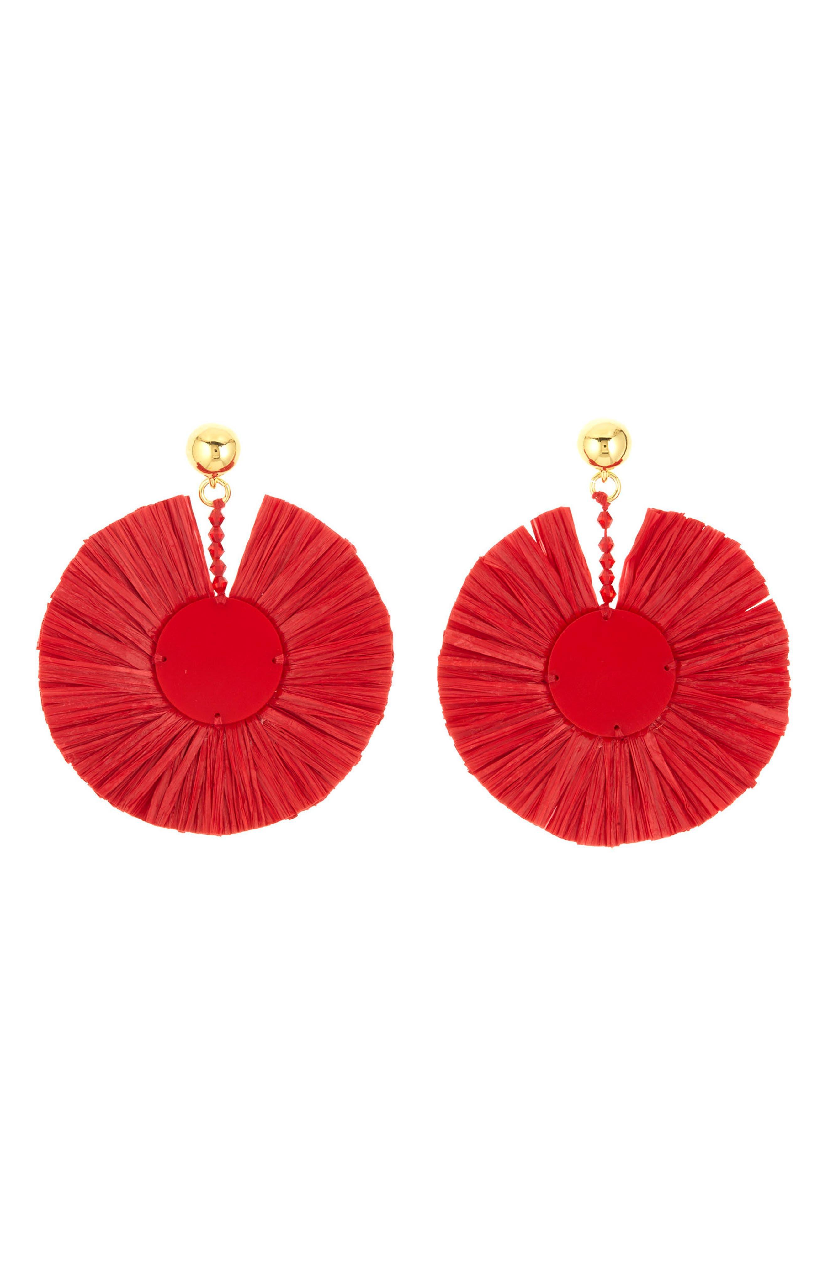 Raffia Disc,                         Main,                         color, Scarlet