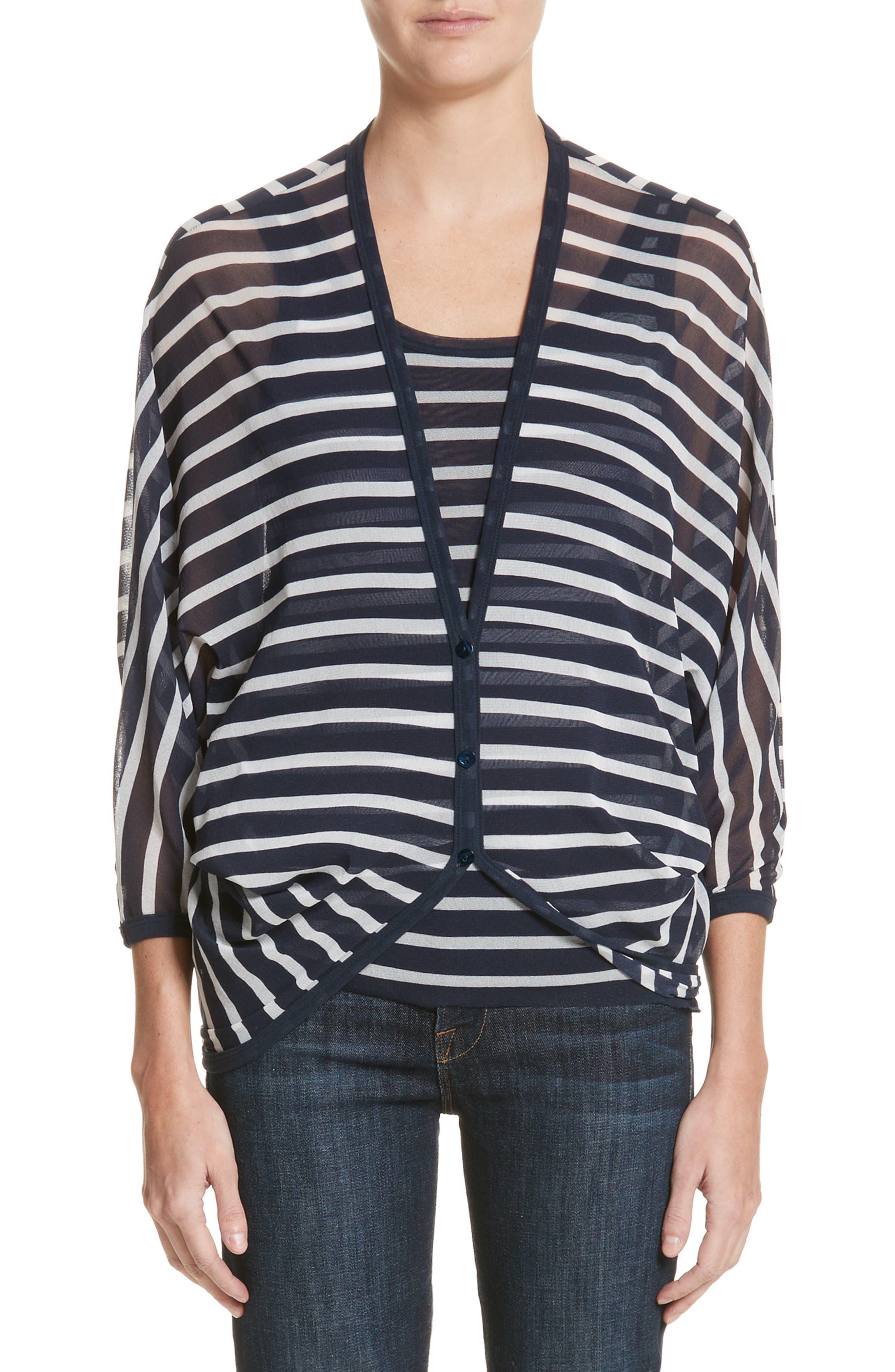Striped Blouson Cardigan,                         Main,                         color, Zaffiro