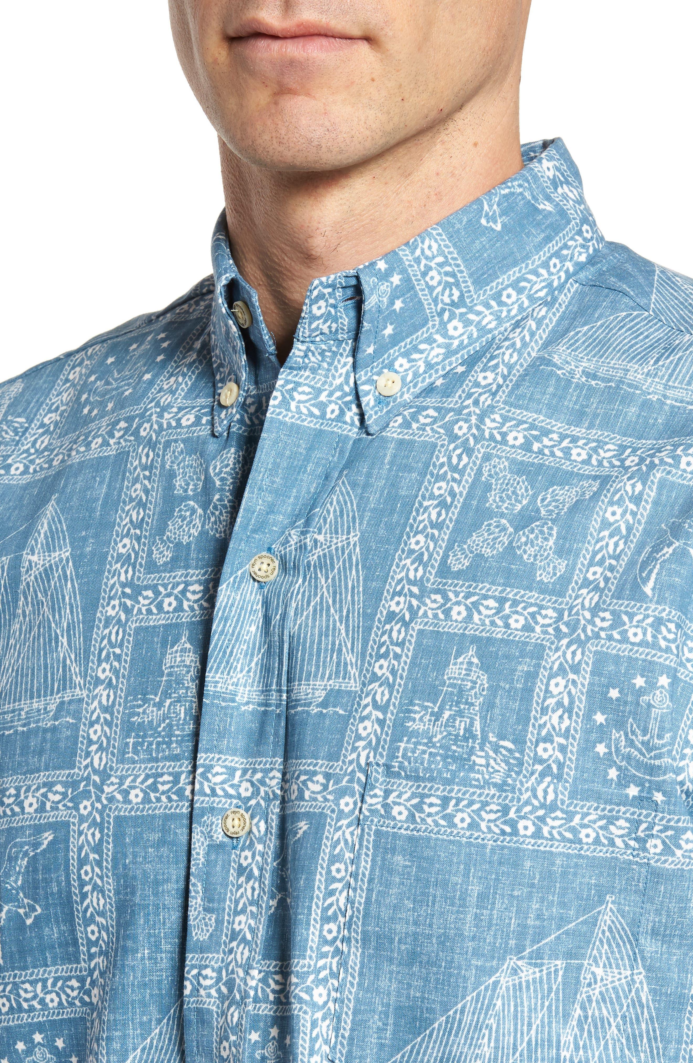 Newport Sailor Classic Fit Print Sport Shirt,                             Alternate thumbnail 4, color,                             Denim