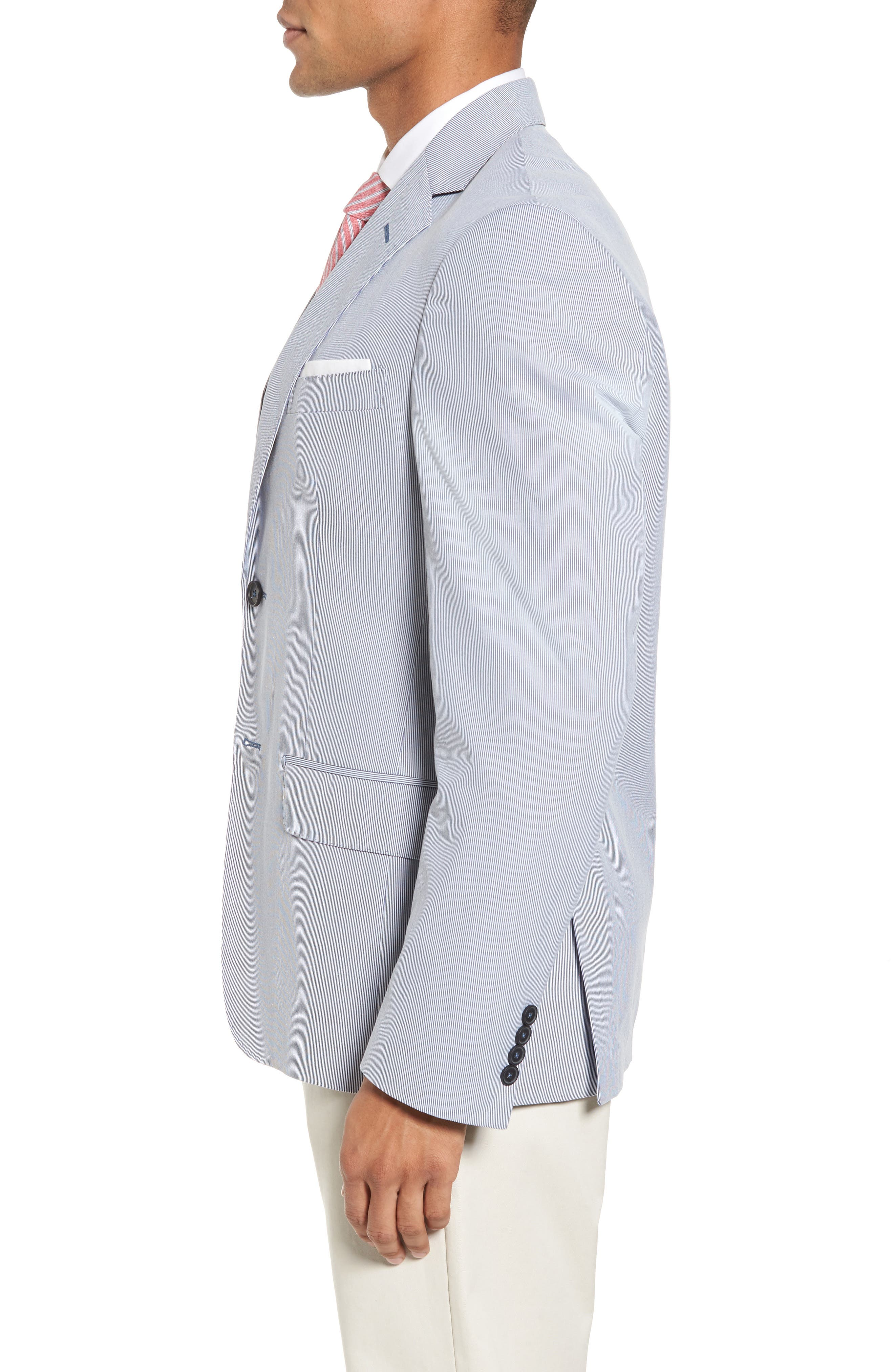 Classic Fit Stripe Sport Coat,                             Alternate thumbnail 3, color,                             Navy