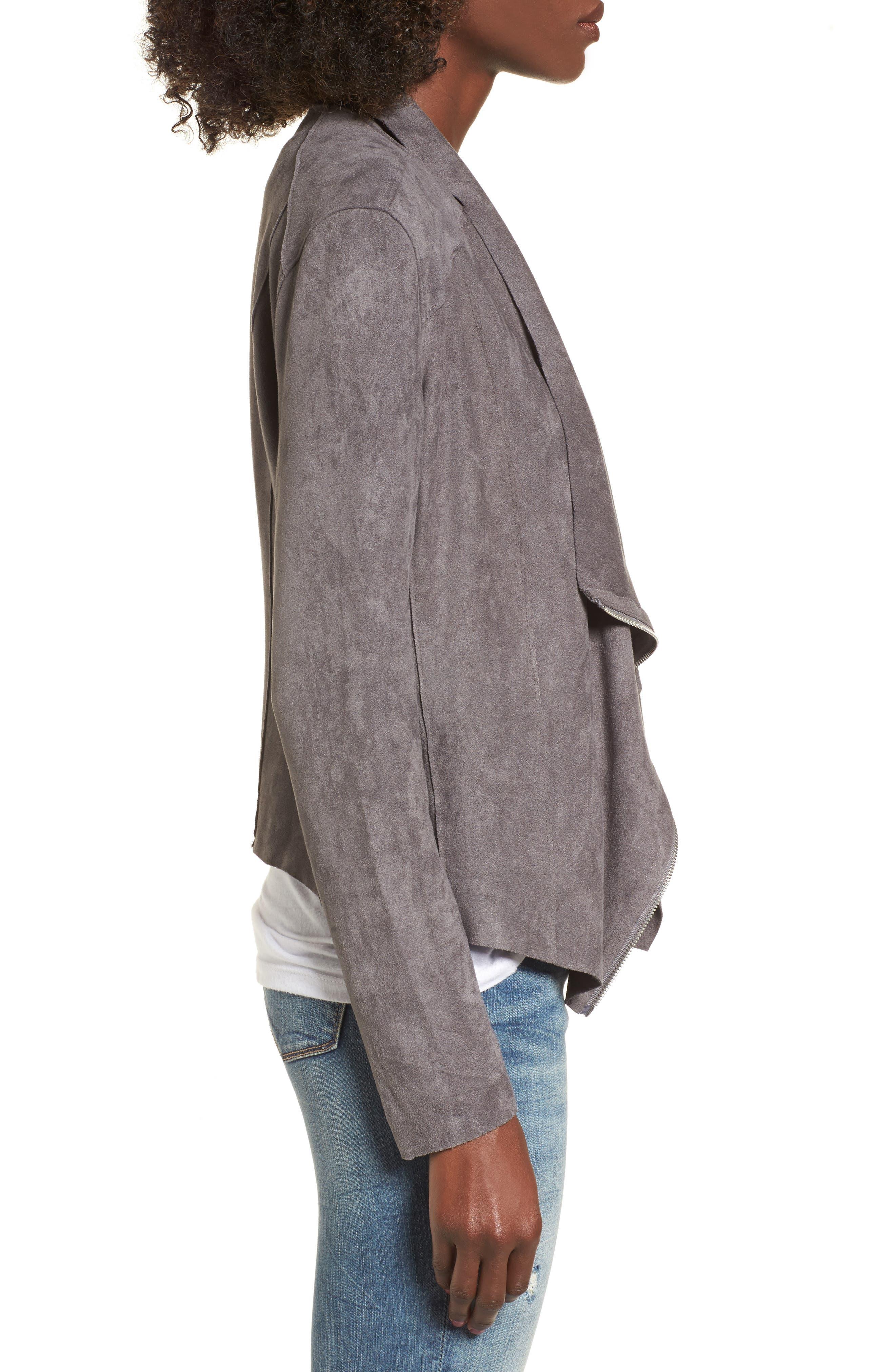Alternate Image 3  - BLANKNYC Drape Front Faux Suede Jacket