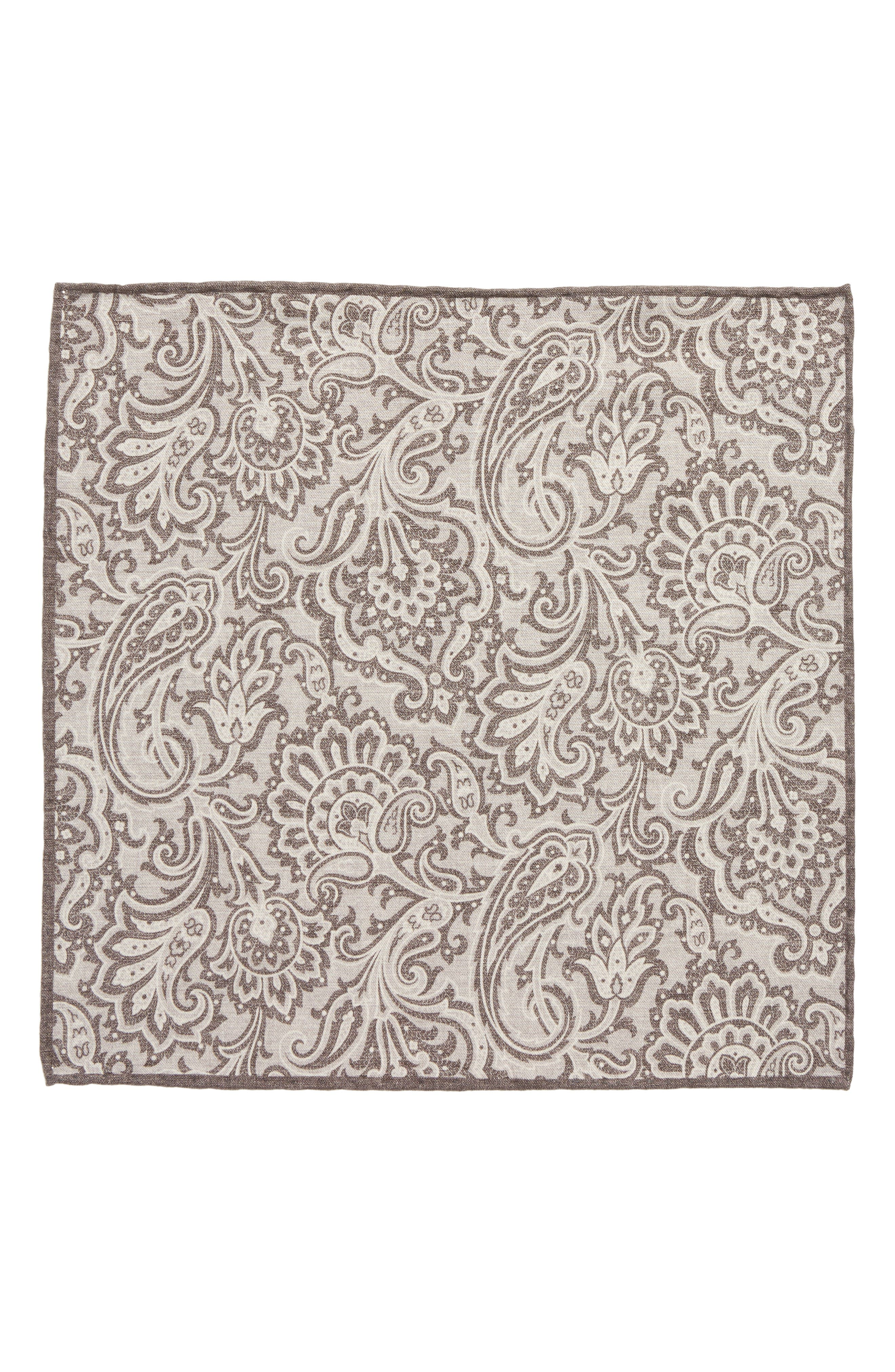 Paisley Wool & Cotton Pocket Square,                             Alternate thumbnail 2, color,                             Grey