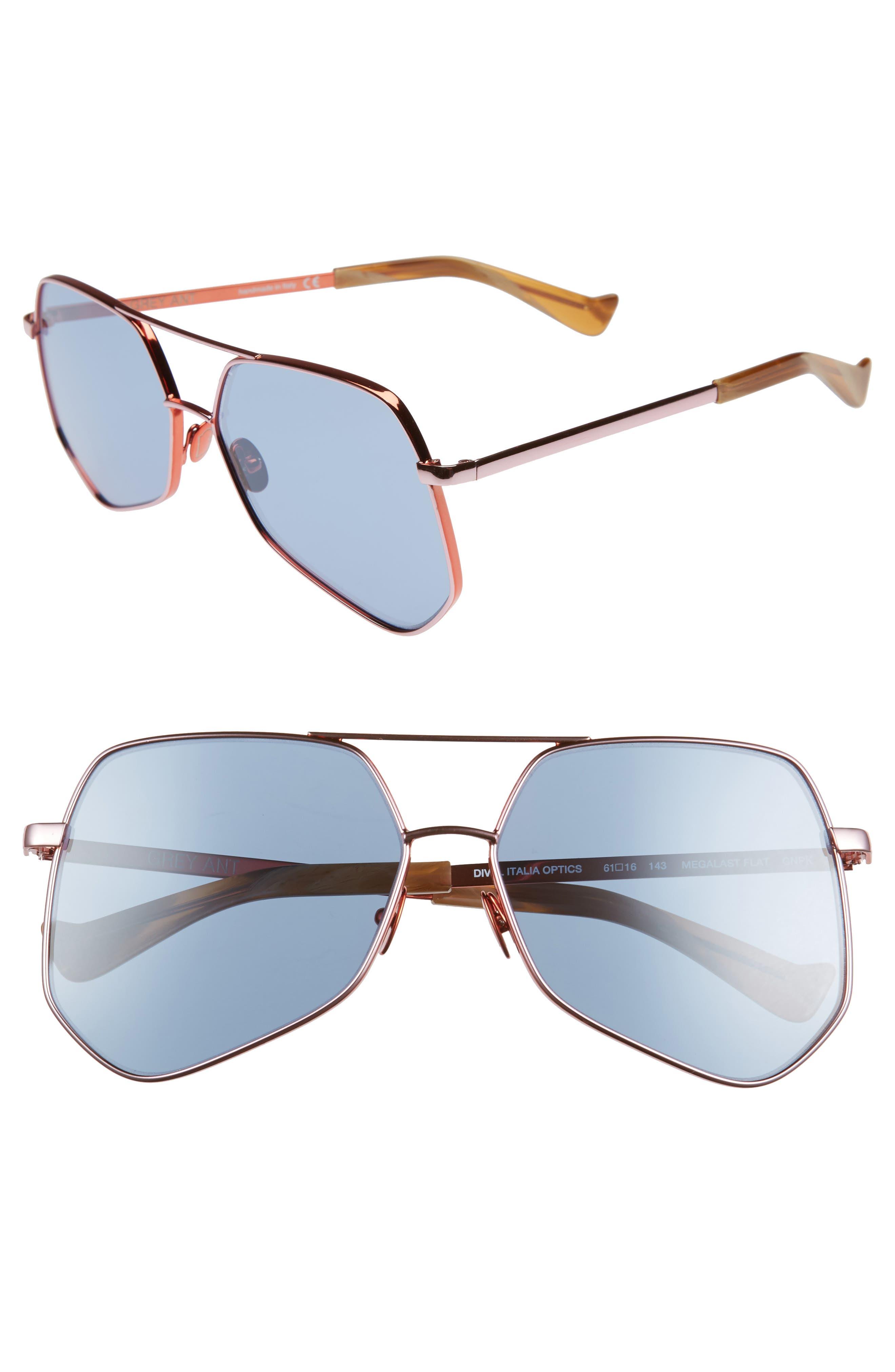 Megalast Flat 61mm Sunglasses,                         Main,                         color, Copper Pink / Light Blue