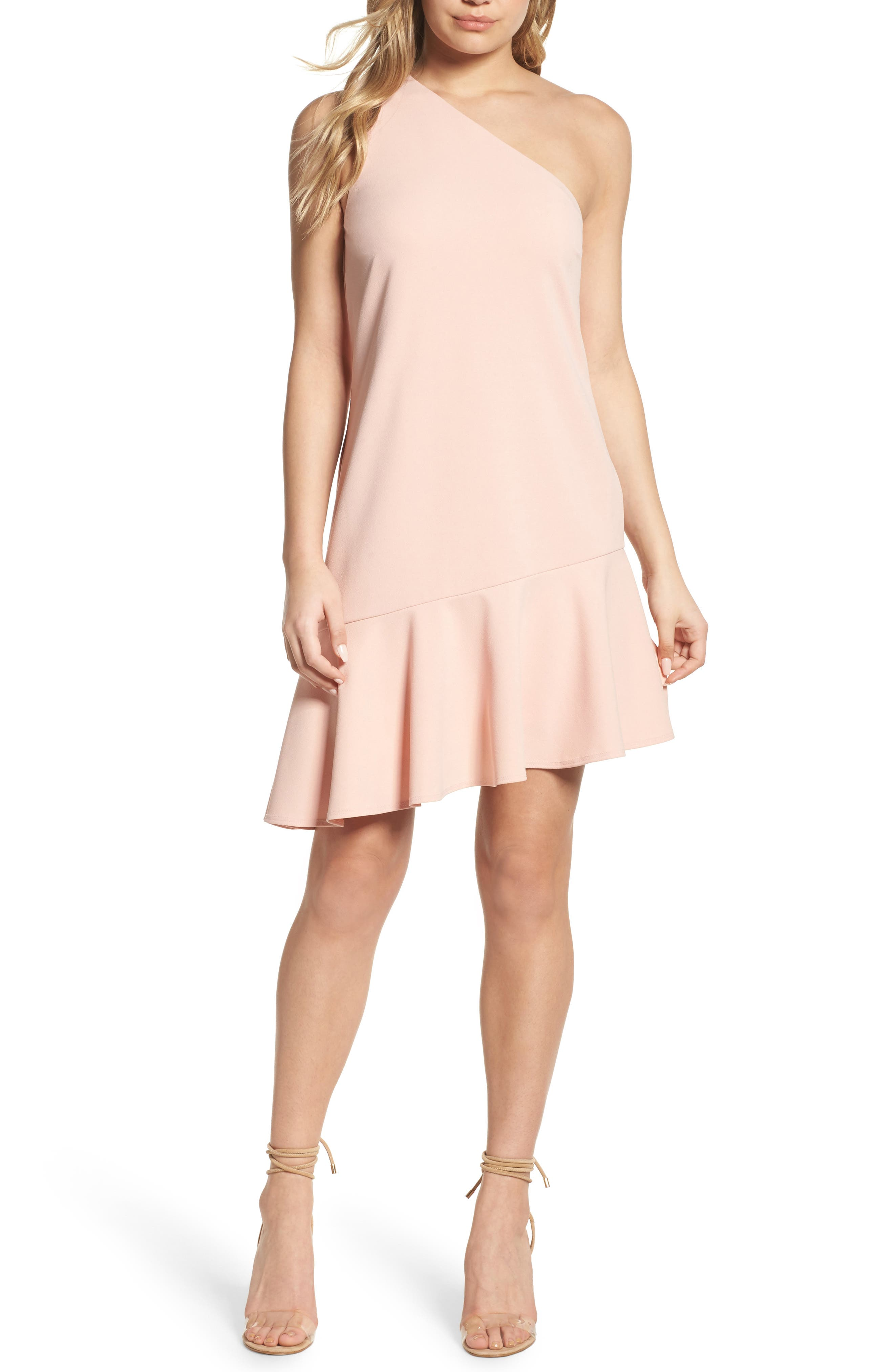 One-Shoulder Ruffle Dress,                         Main,                         color, Blush