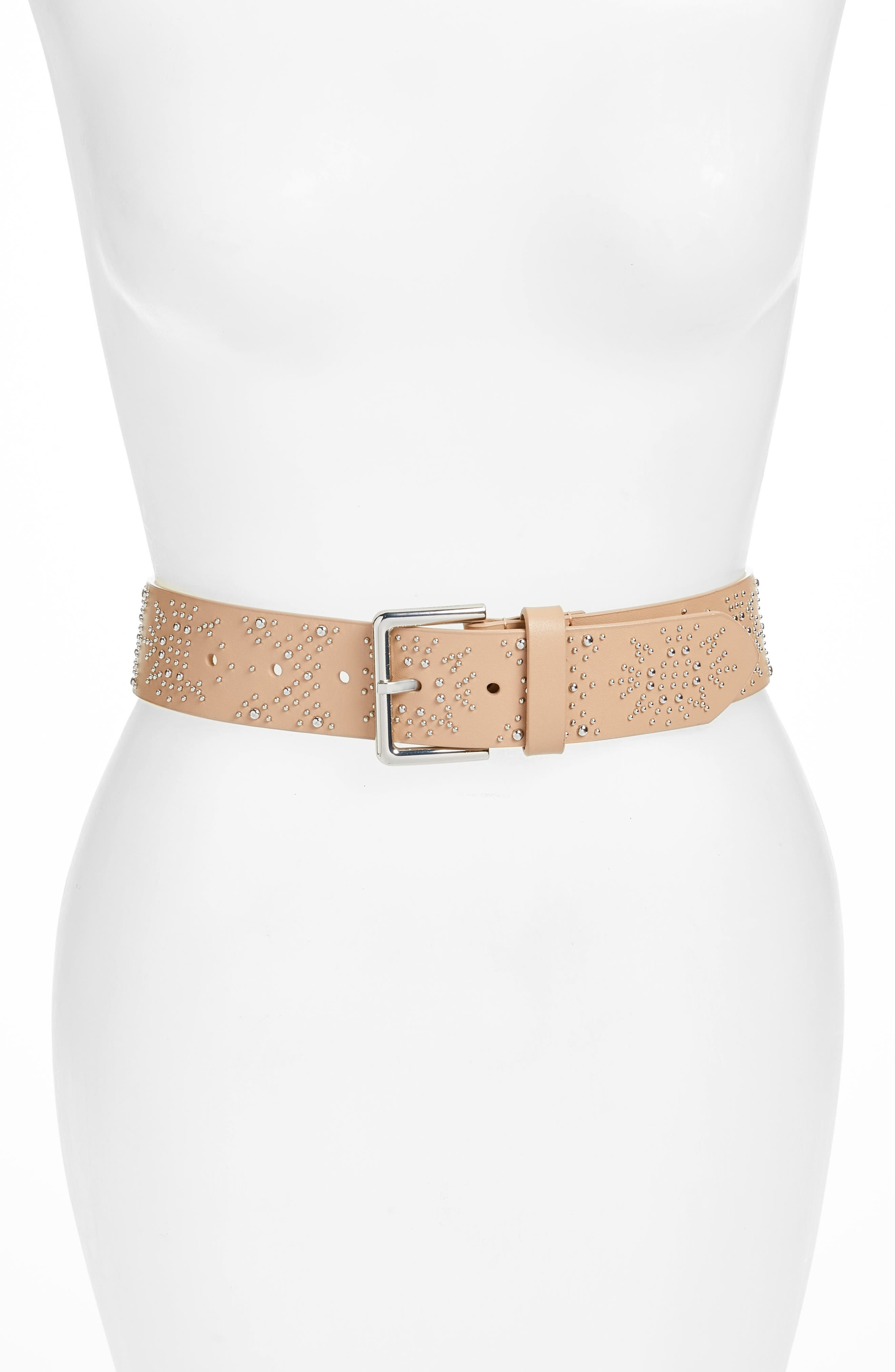 Mary Studded Nappa Leather Belt,                             Main thumbnail 1, color,                             Nude