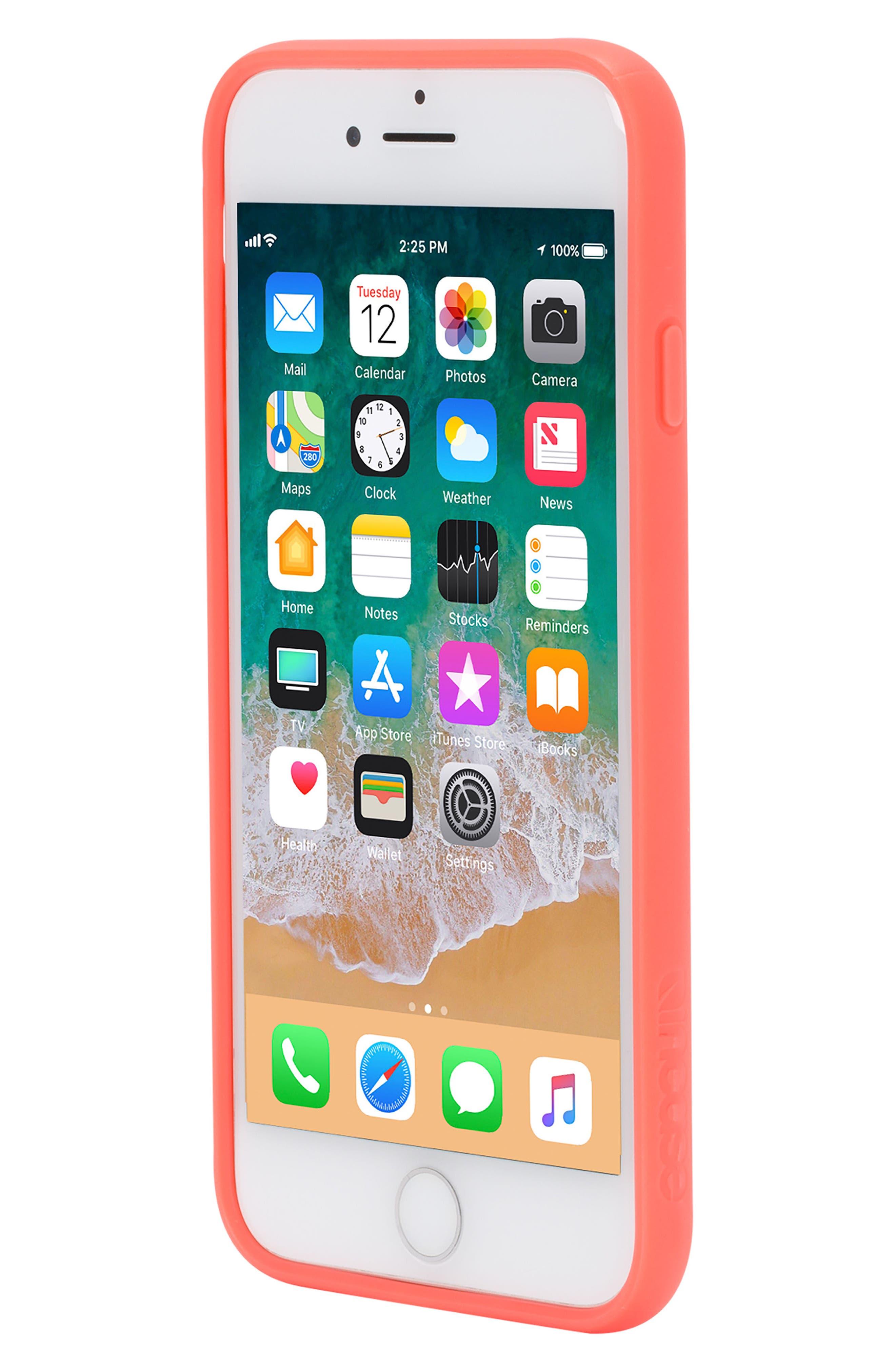 Pop Case Clear iPhone 7/8 Case,                             Alternate thumbnail 8, color,                             Coral