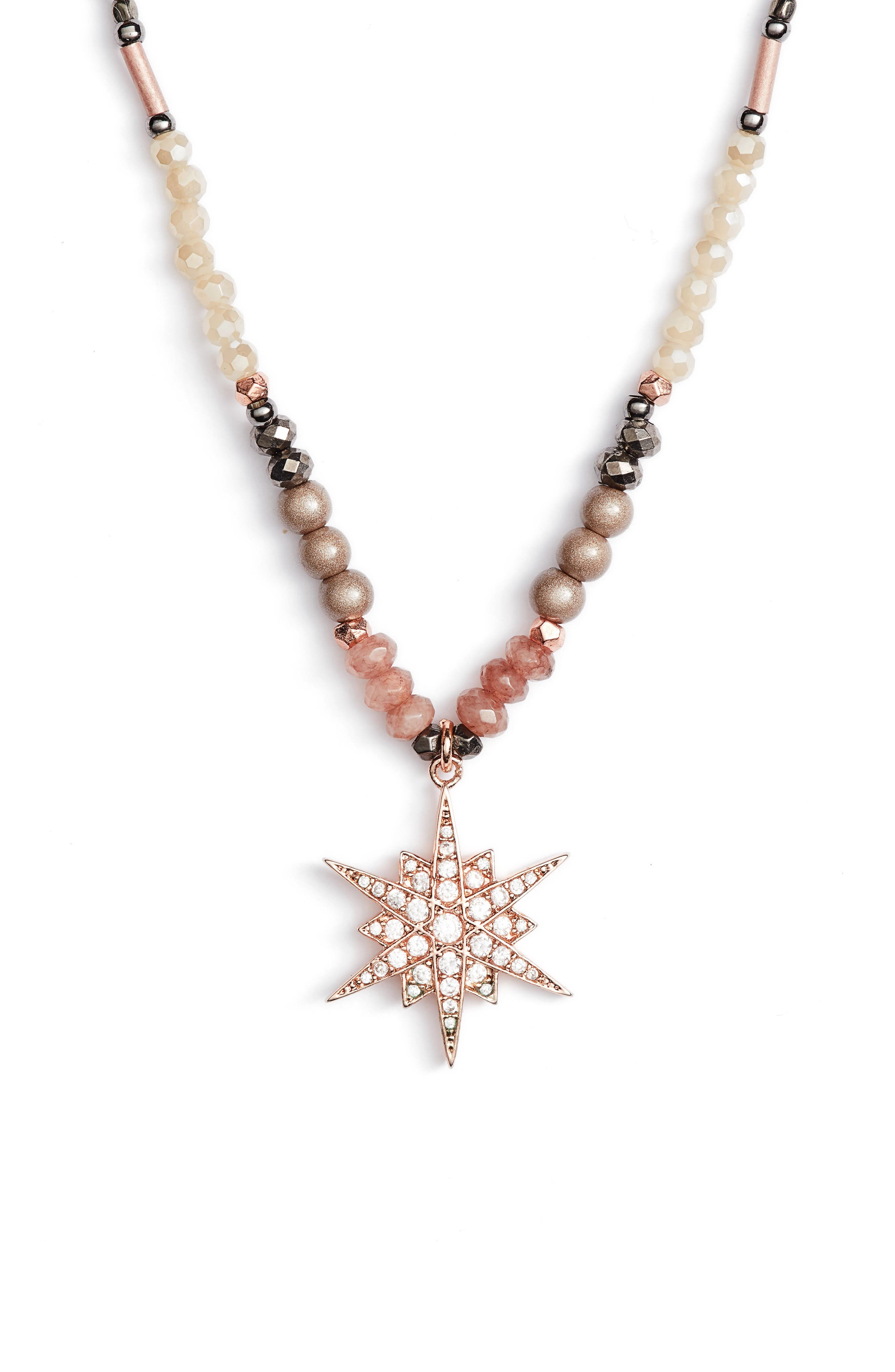 Star Pendant Beaded Necklace,                         Main,                         color, Nude