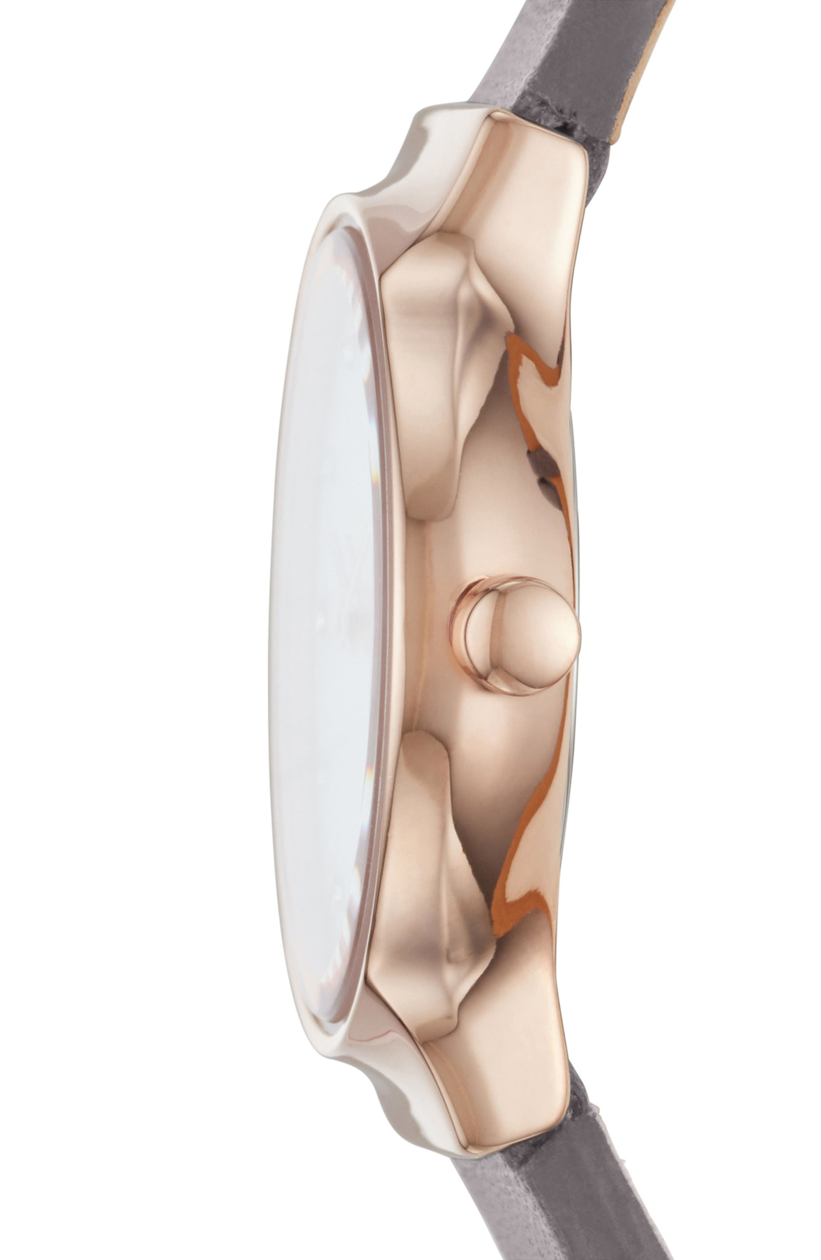Freja Crystal Accent Leather Strap Watch, 26mm,                             Alternate thumbnail 2, color,                             Grey/ White/ Rose Gold