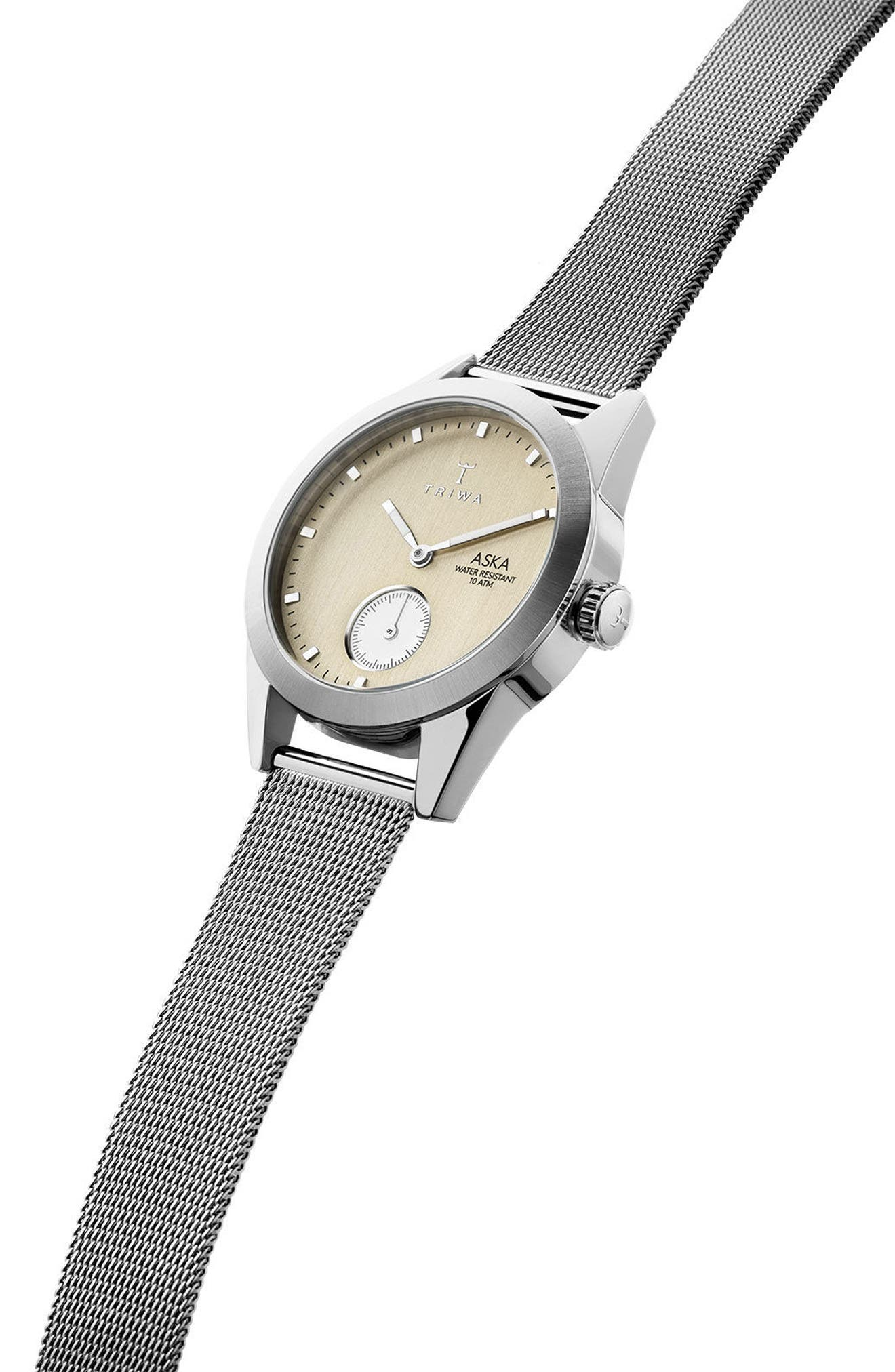 Birch Aska Super Slim Mesh Strap Watch, 32mm,                             Alternate thumbnail 3, color,                             Silver/ Gold/ Silver