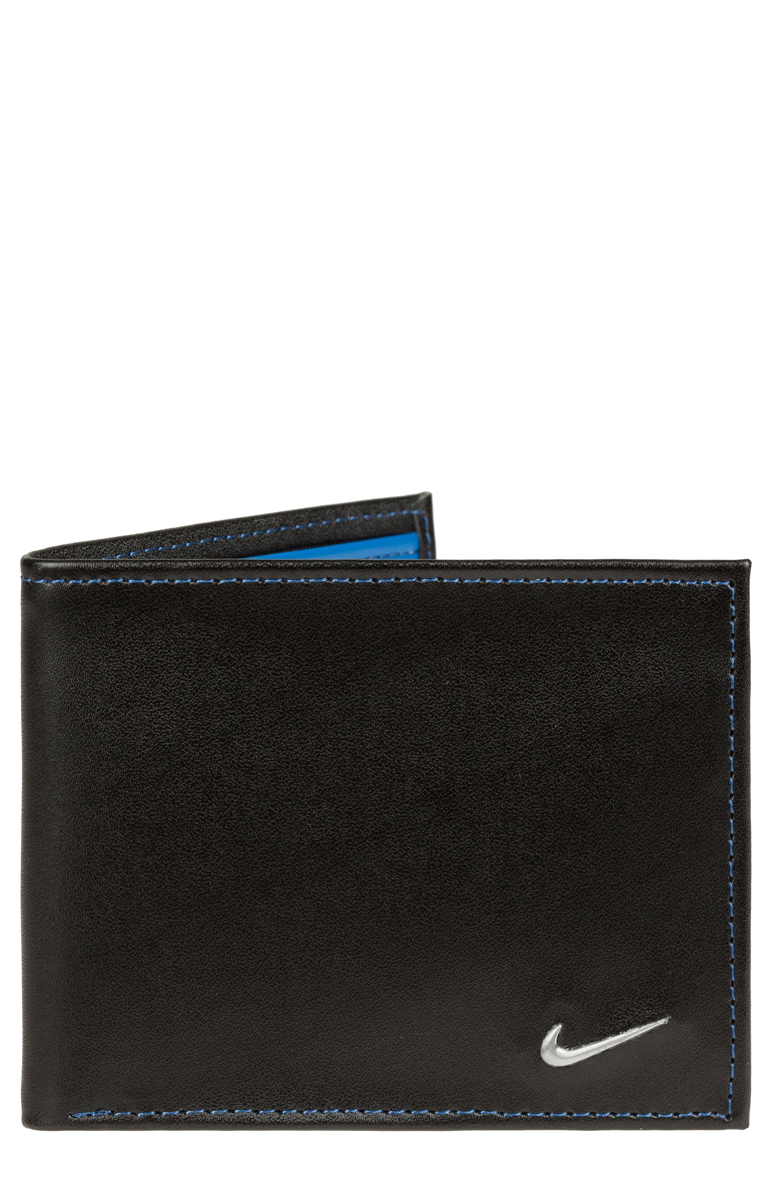 Modern Leather Wallet,                         Main,                         color, Lyon Blue