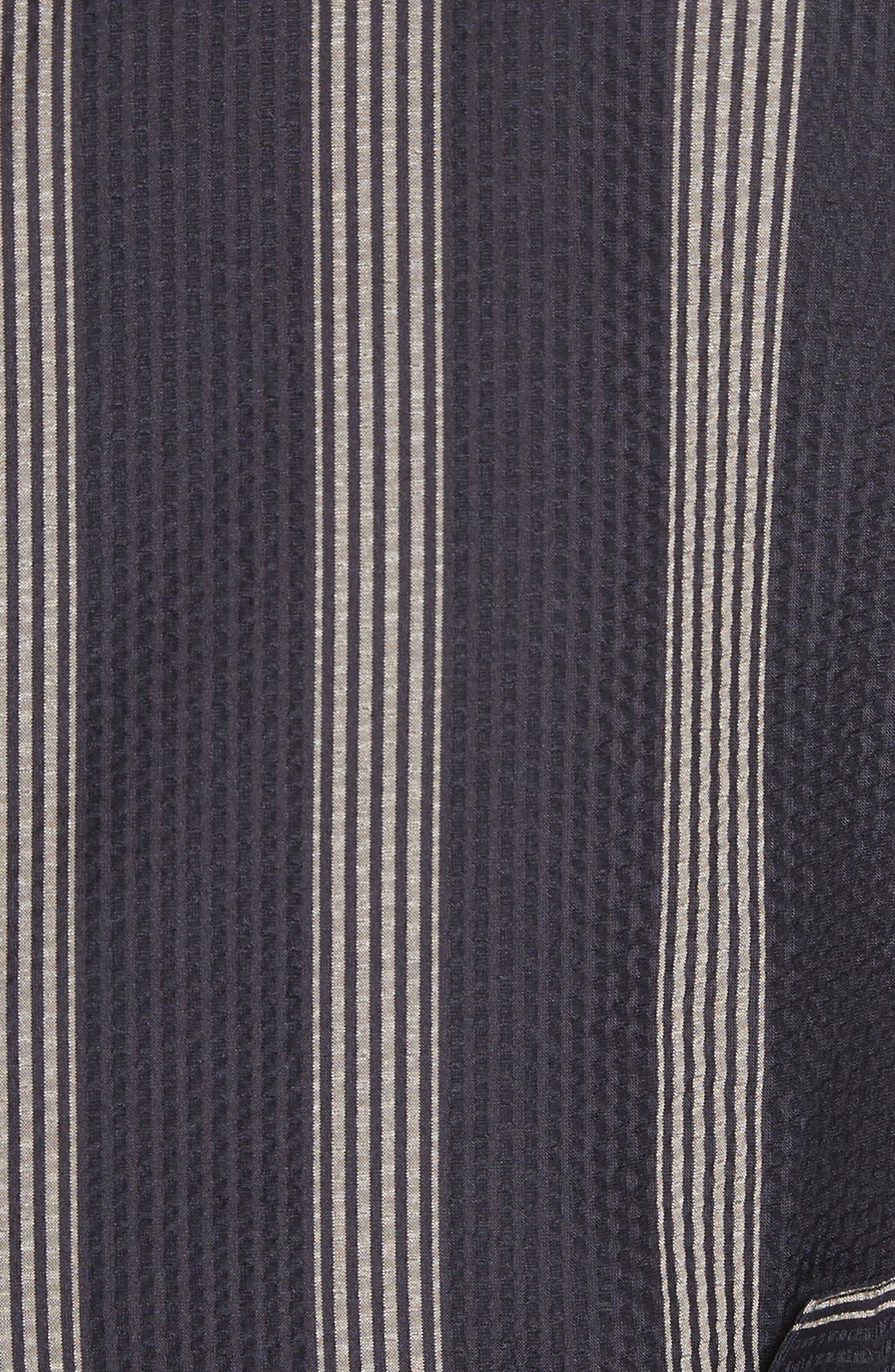 Stripe Silk Shirt,                             Alternate thumbnail 5, color,                             Black/White