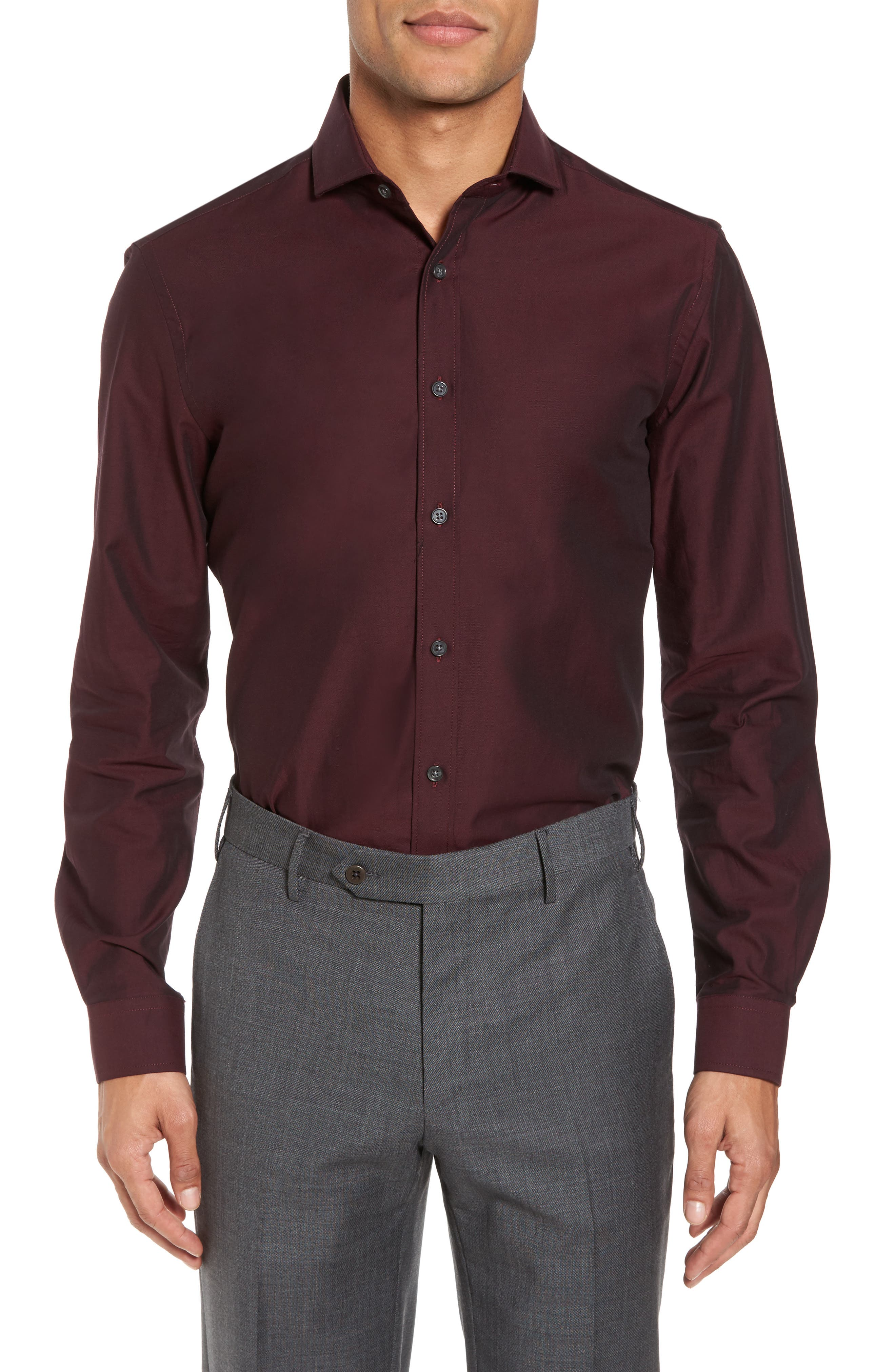 Trim Fit Solid Dress Shirt,                         Main,                         color, Burgundy