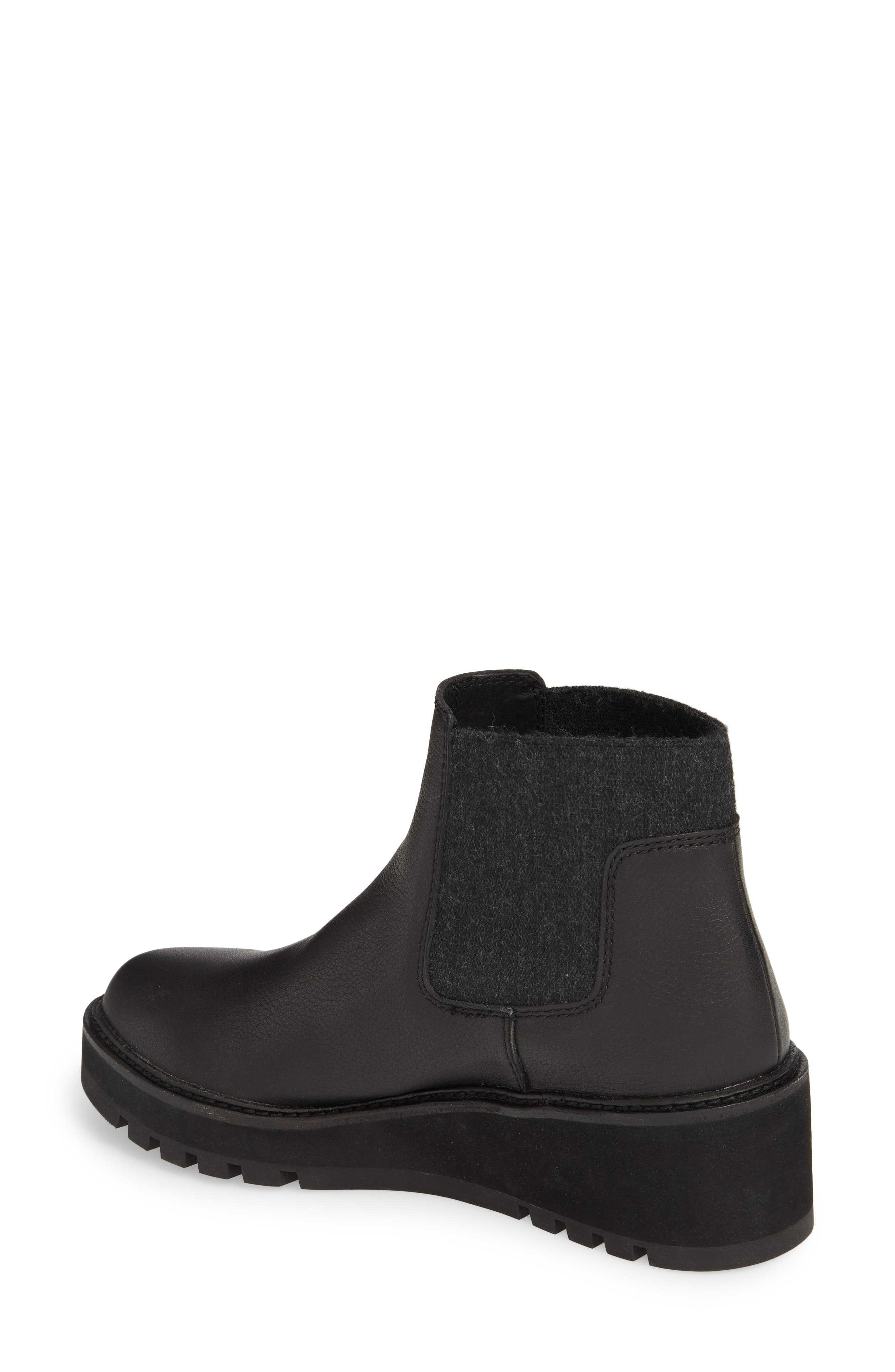 Wedge Chelsea Bootie,                             Alternate thumbnail 2, color,                             Black Washed Leather