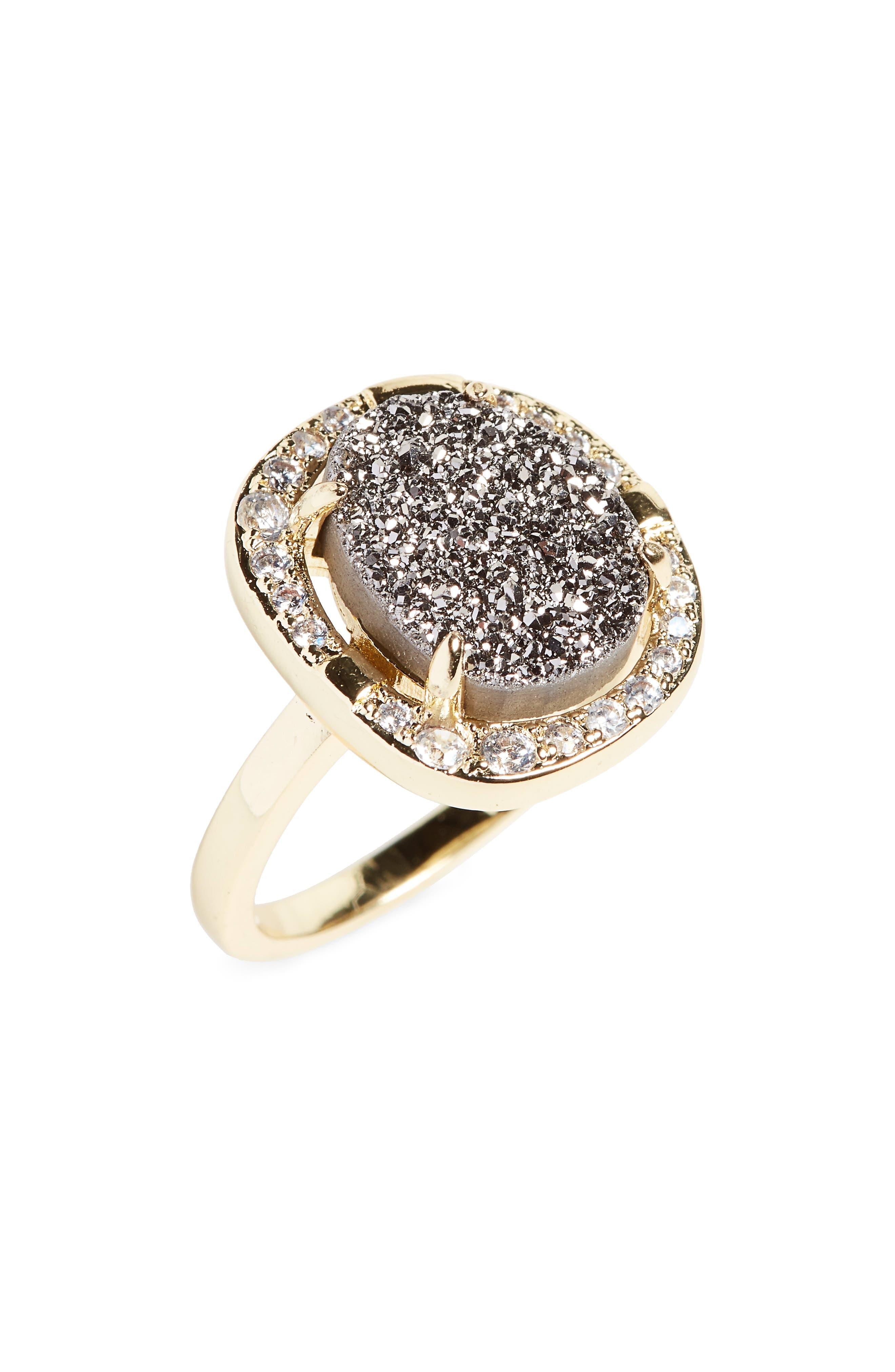 Elizabeth Drusy Cocktail Ring,                         Main,                         color, Grey Druzy/ Gold