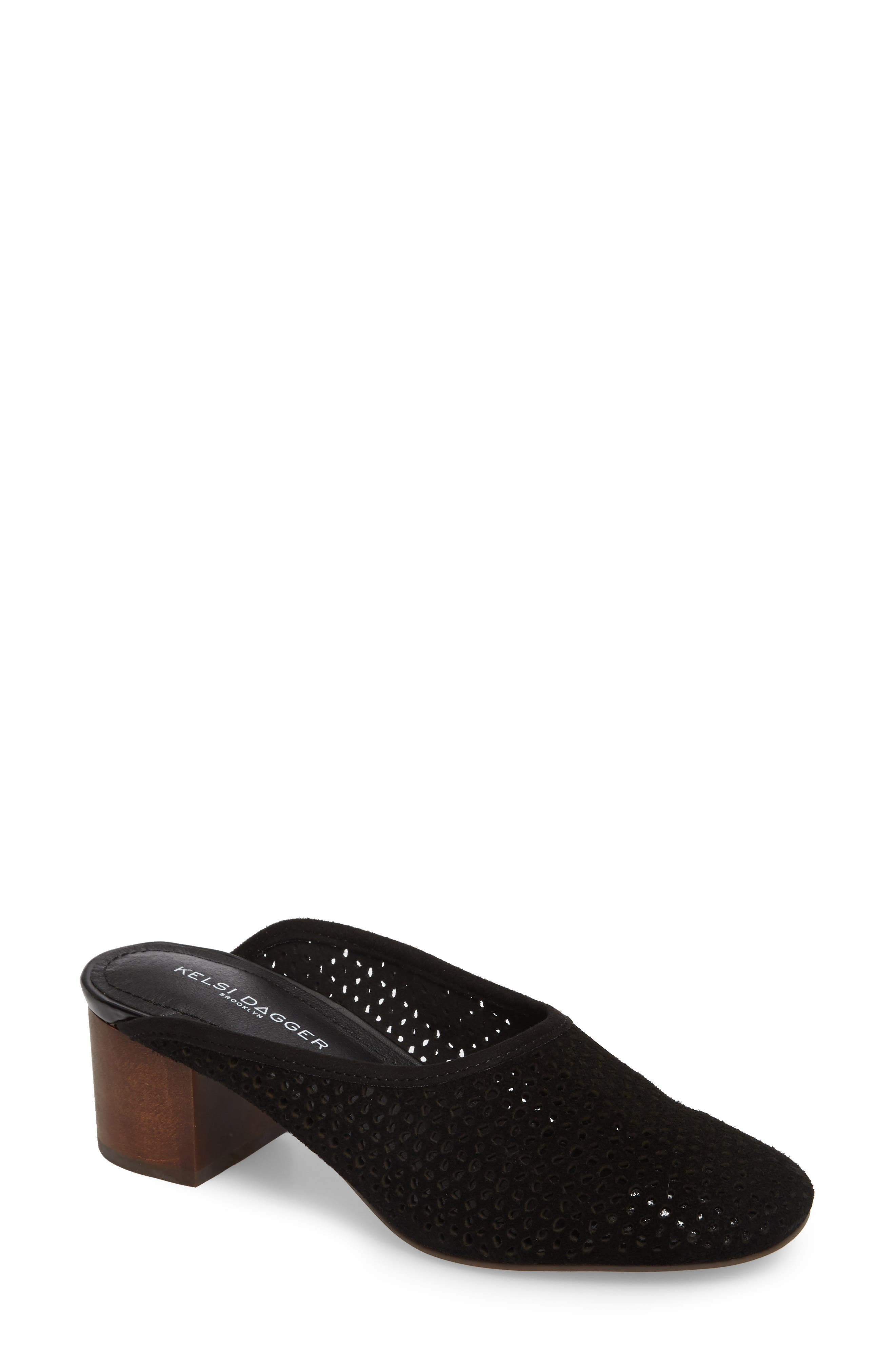 Lincoln Perforated Mule,                             Main thumbnail 1, color,                             Black