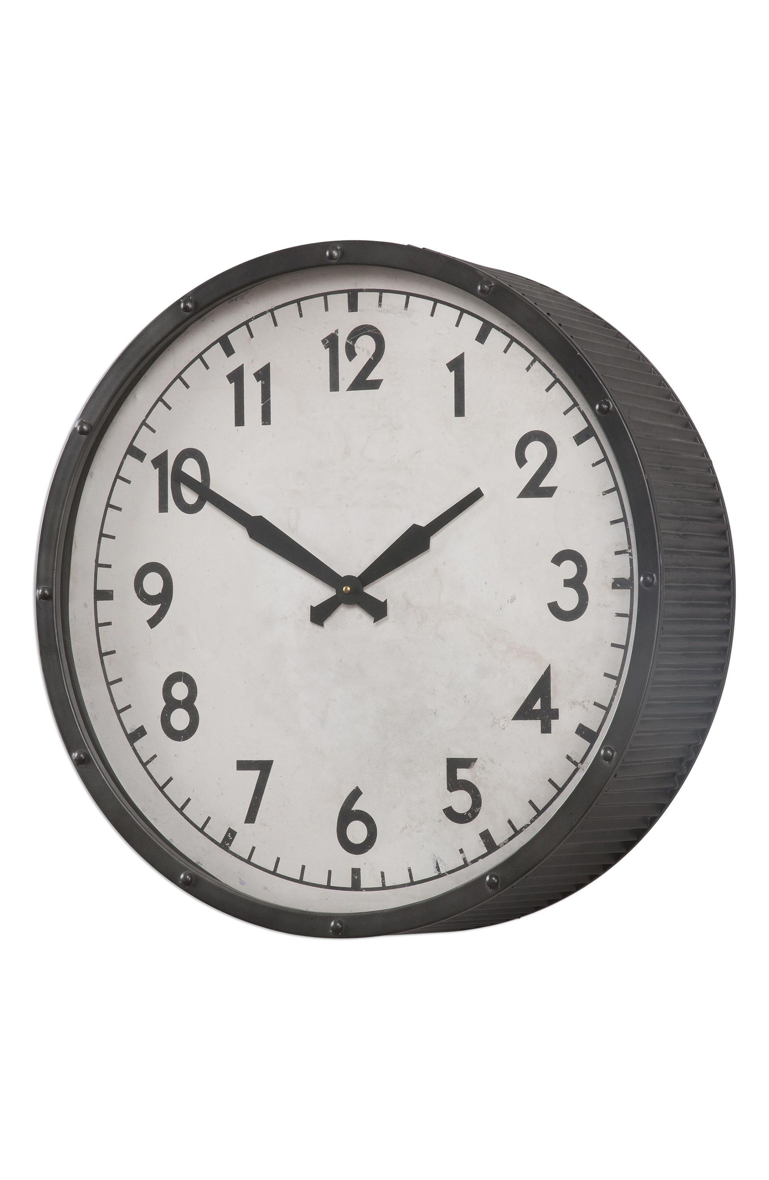 Berta Wall Clock,                             Main thumbnail 1, color,                             Ivory