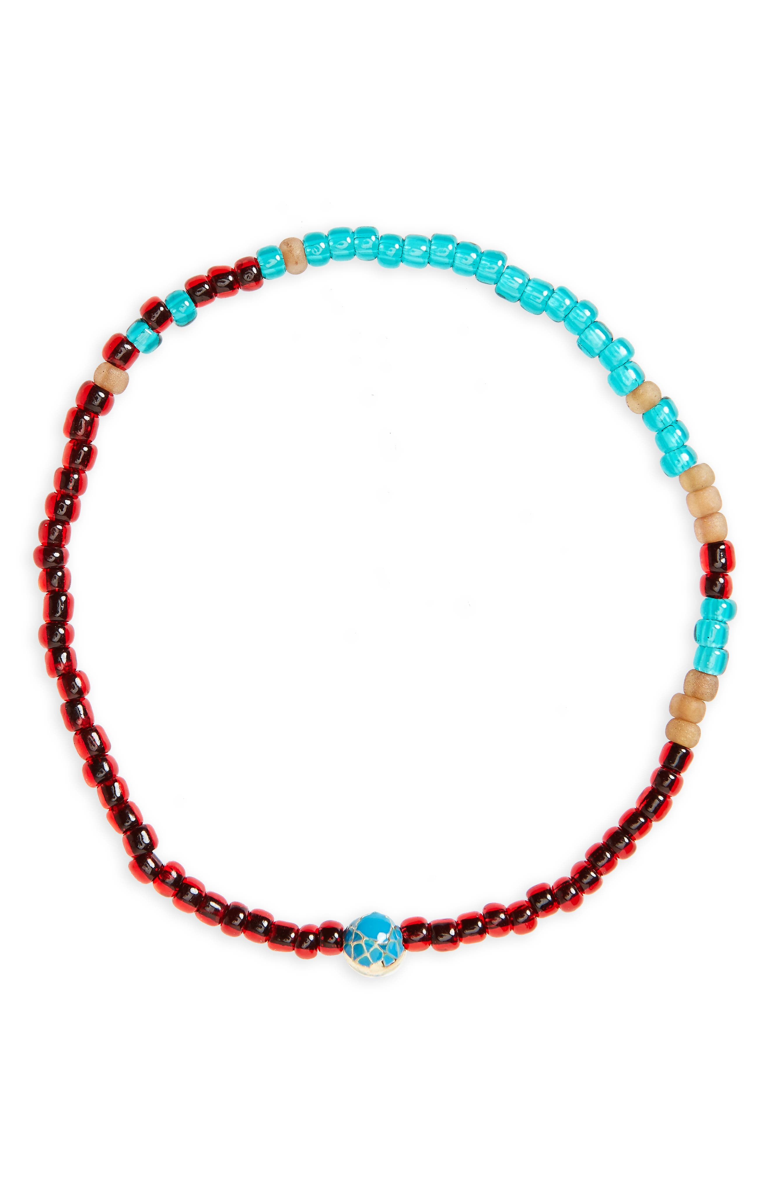 Mini Faceted Mantra Bracelet,                         Main,                         color, Turquoise/ Red Mix