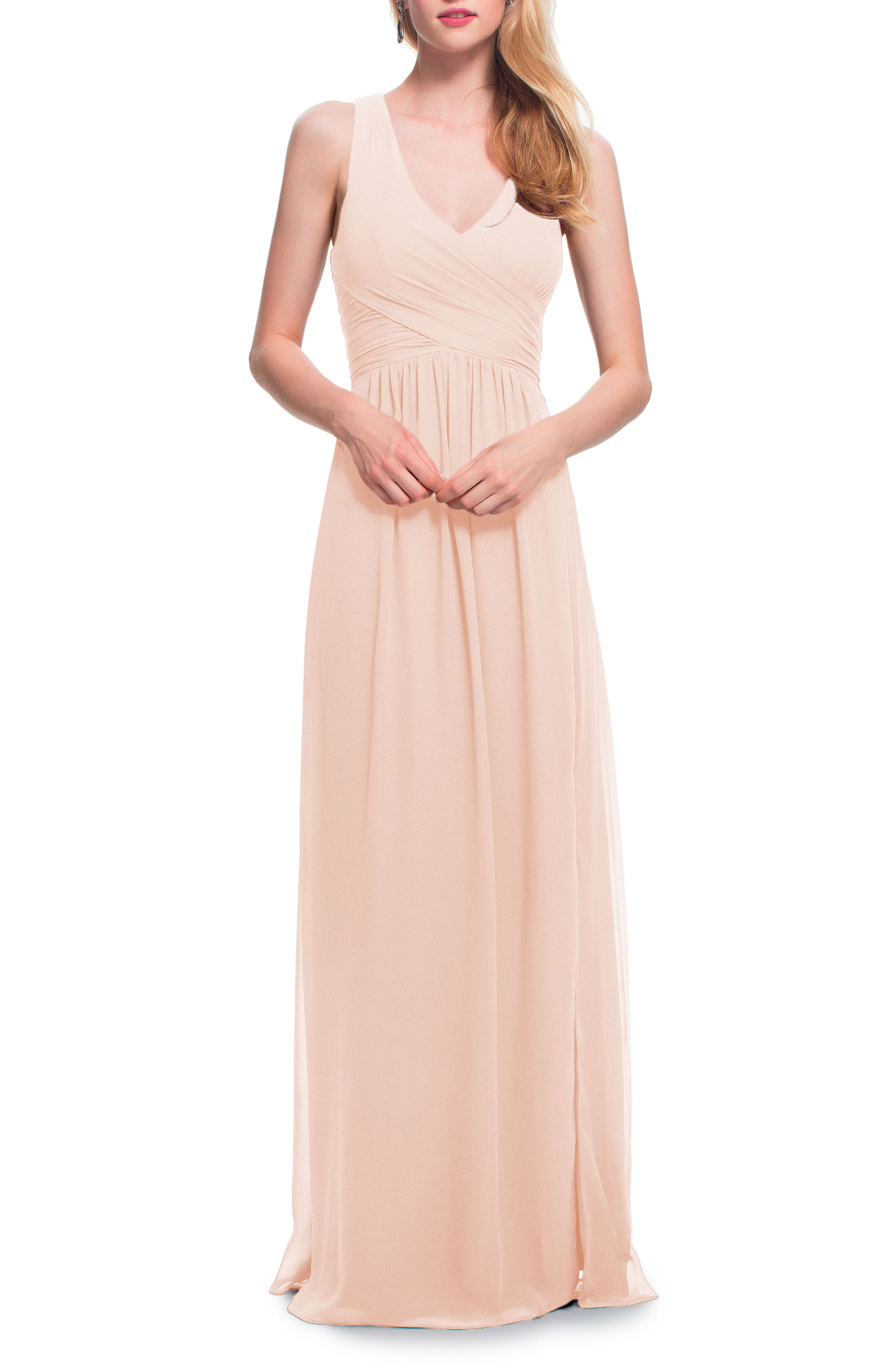 Bridesmaid wedding party dresses nordstrom levkoff back cutout chiffon gown ombrellifo Choice Image