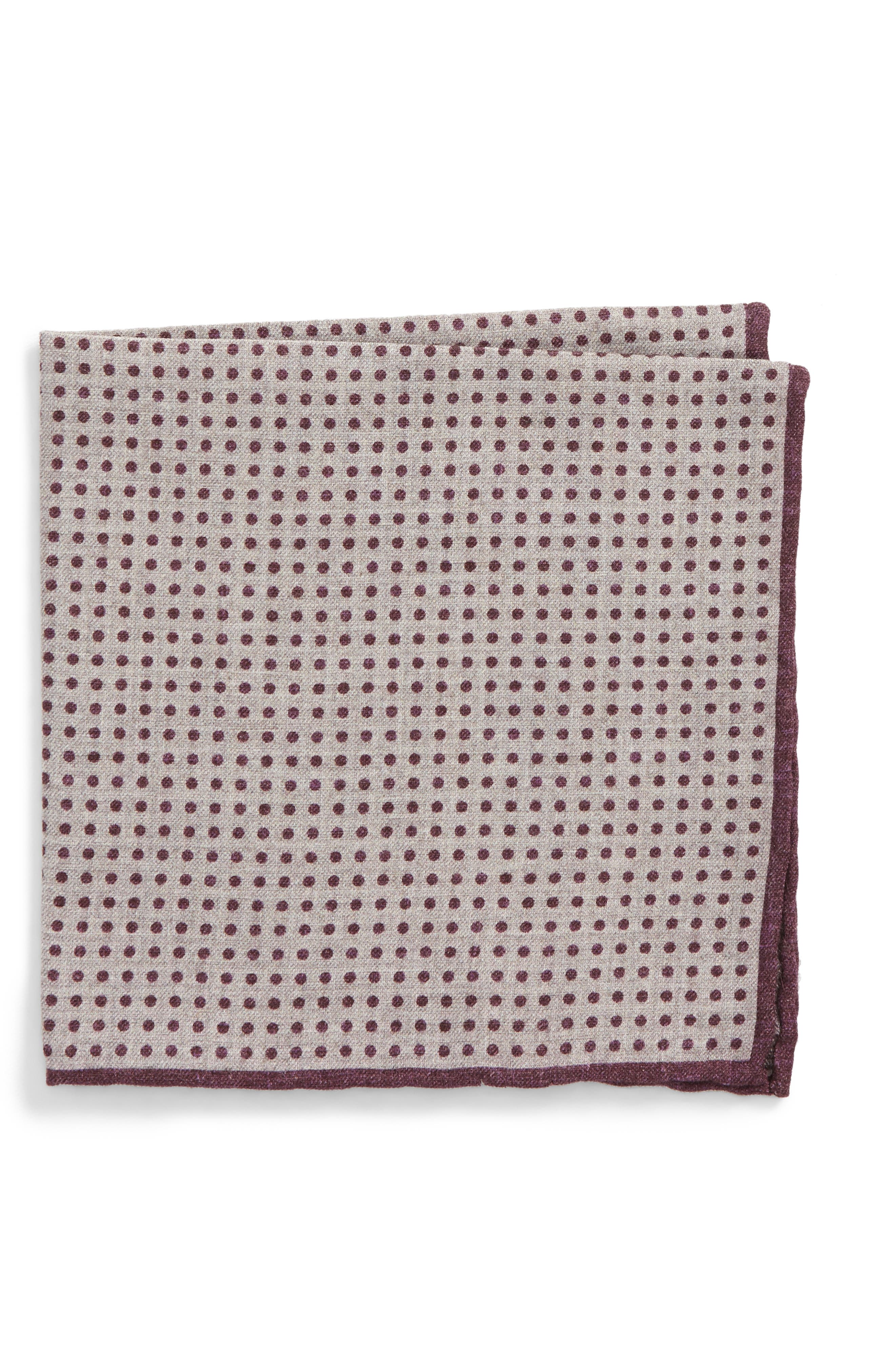 Dot Wool & Cotton Pocket Square,                             Main thumbnail 1, color,                             Violet