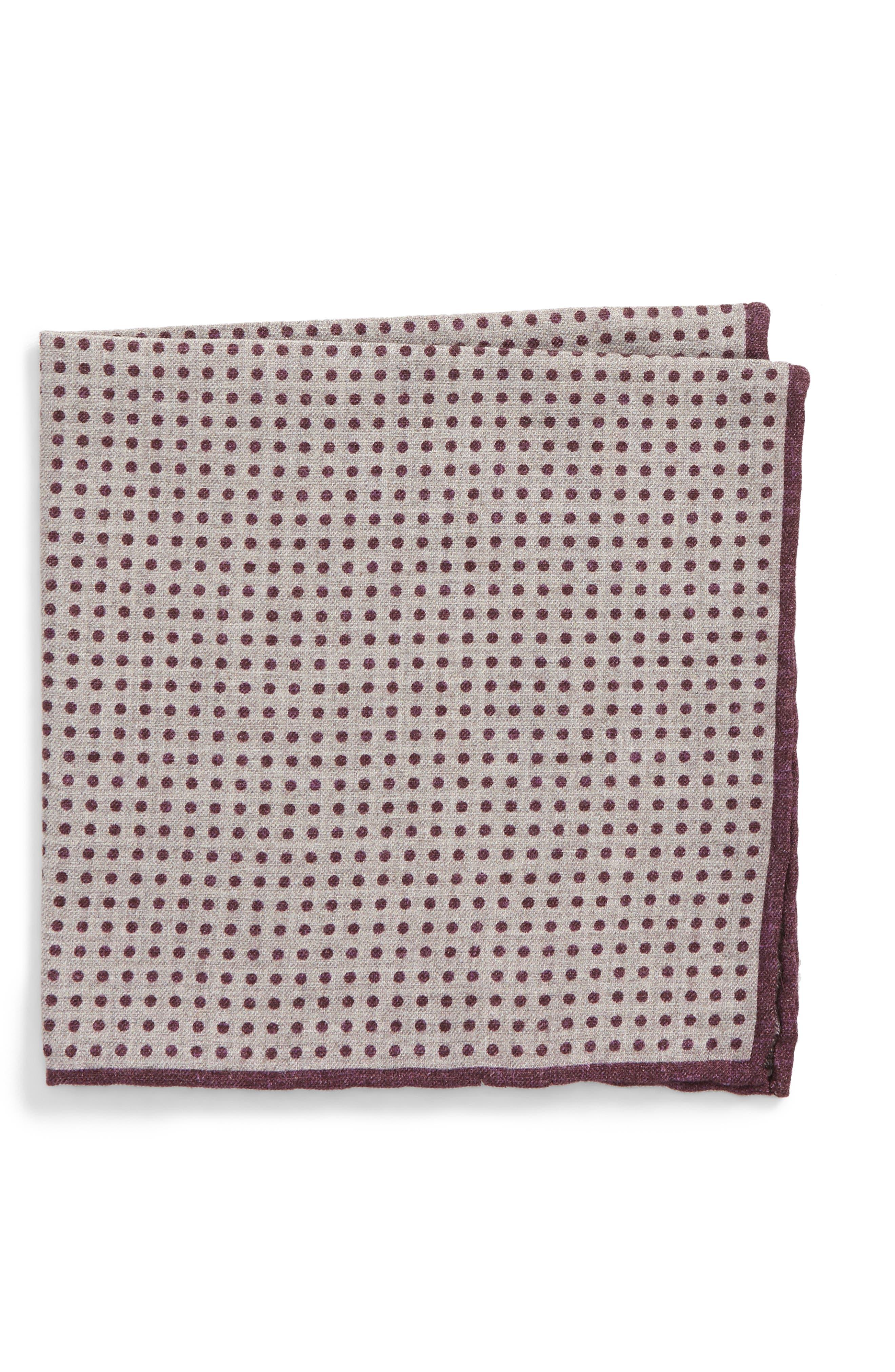 Dot Wool & Cotton Pocket Square,                         Main,                         color, Violet