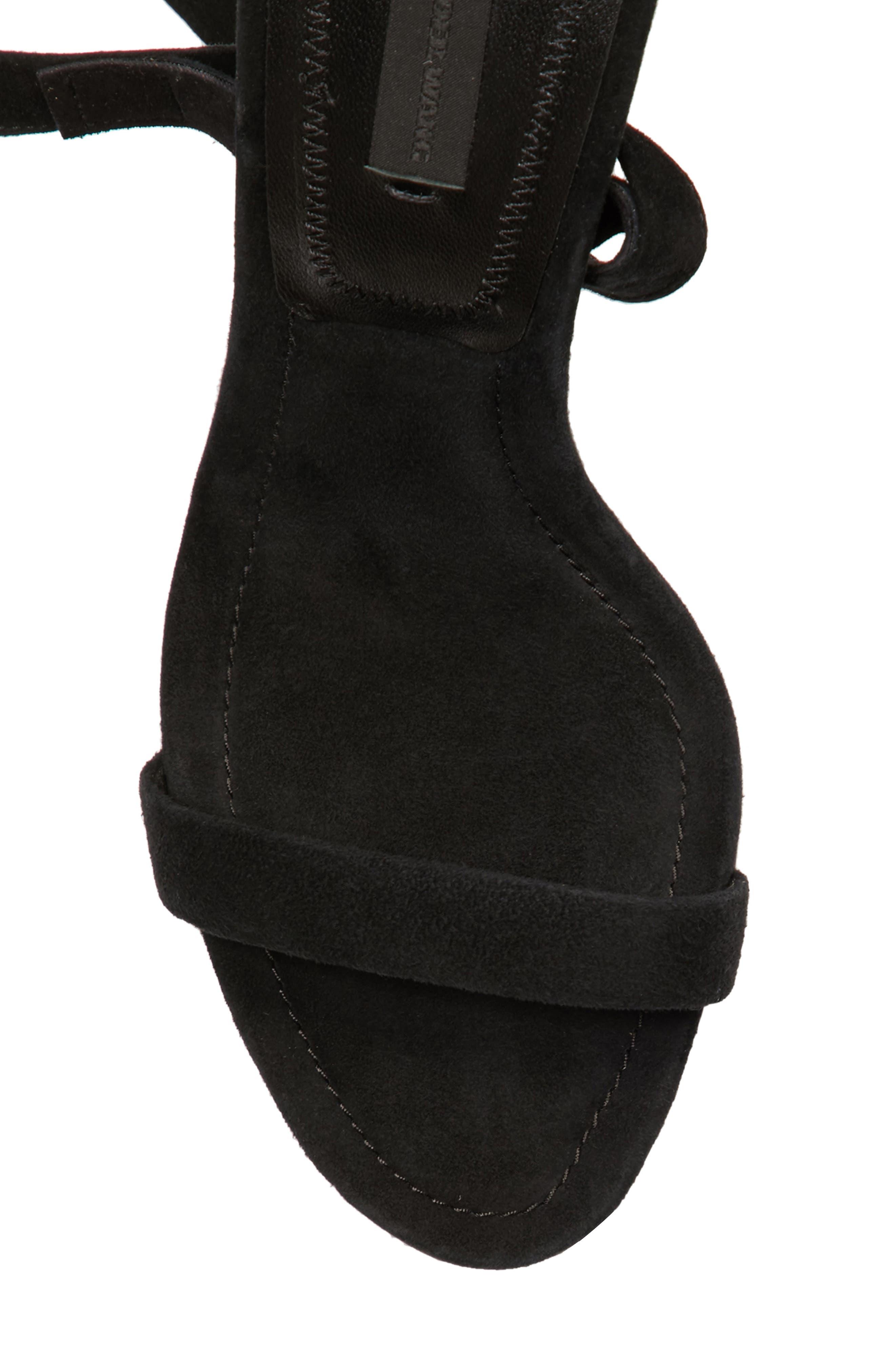 Evie Ankle Tie Sandal,                             Alternate thumbnail 5, color,                             Black