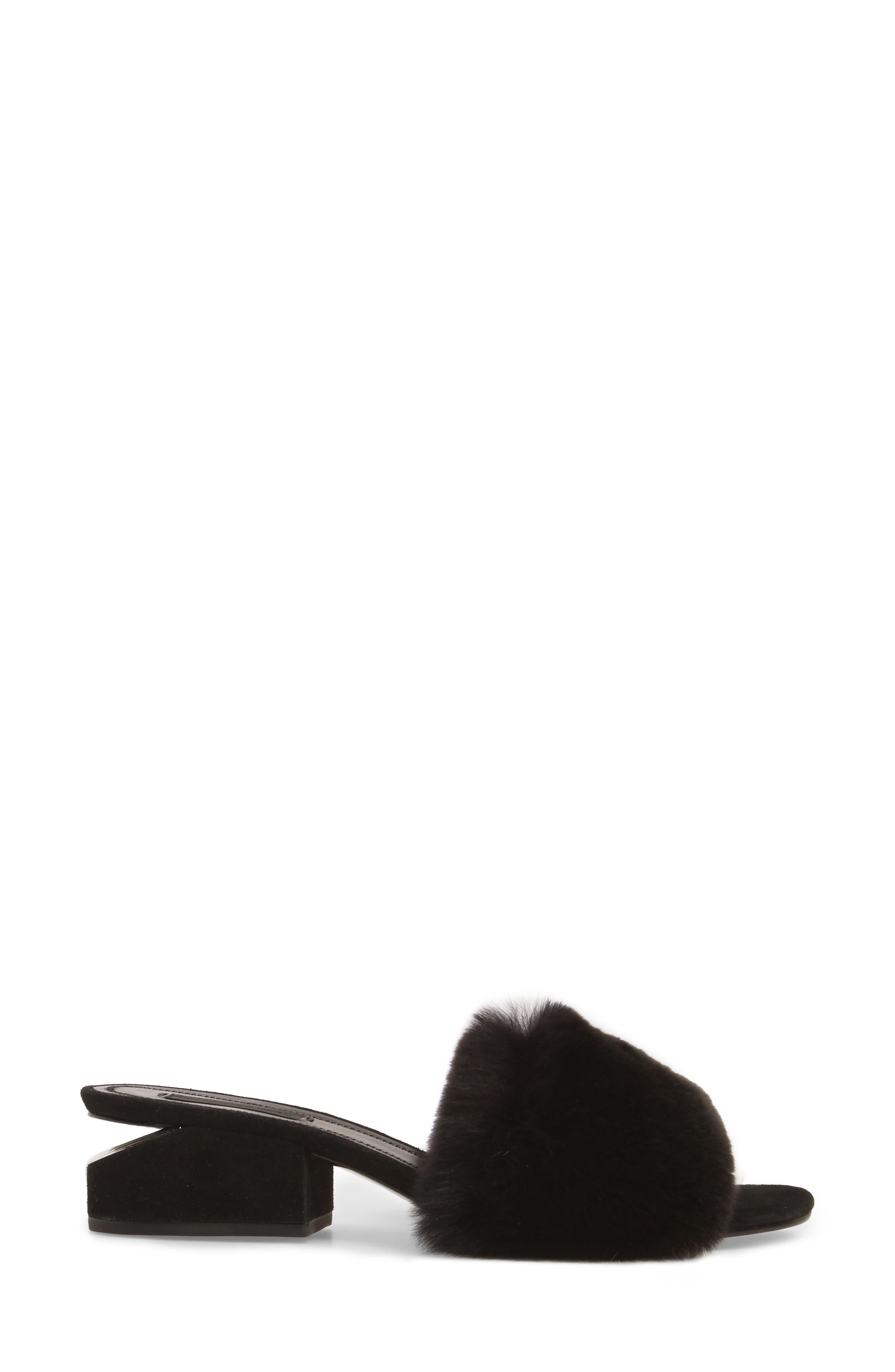 Lou Genuine Rabbit Fur Slide,                             Alternate thumbnail 3, color,                             Black