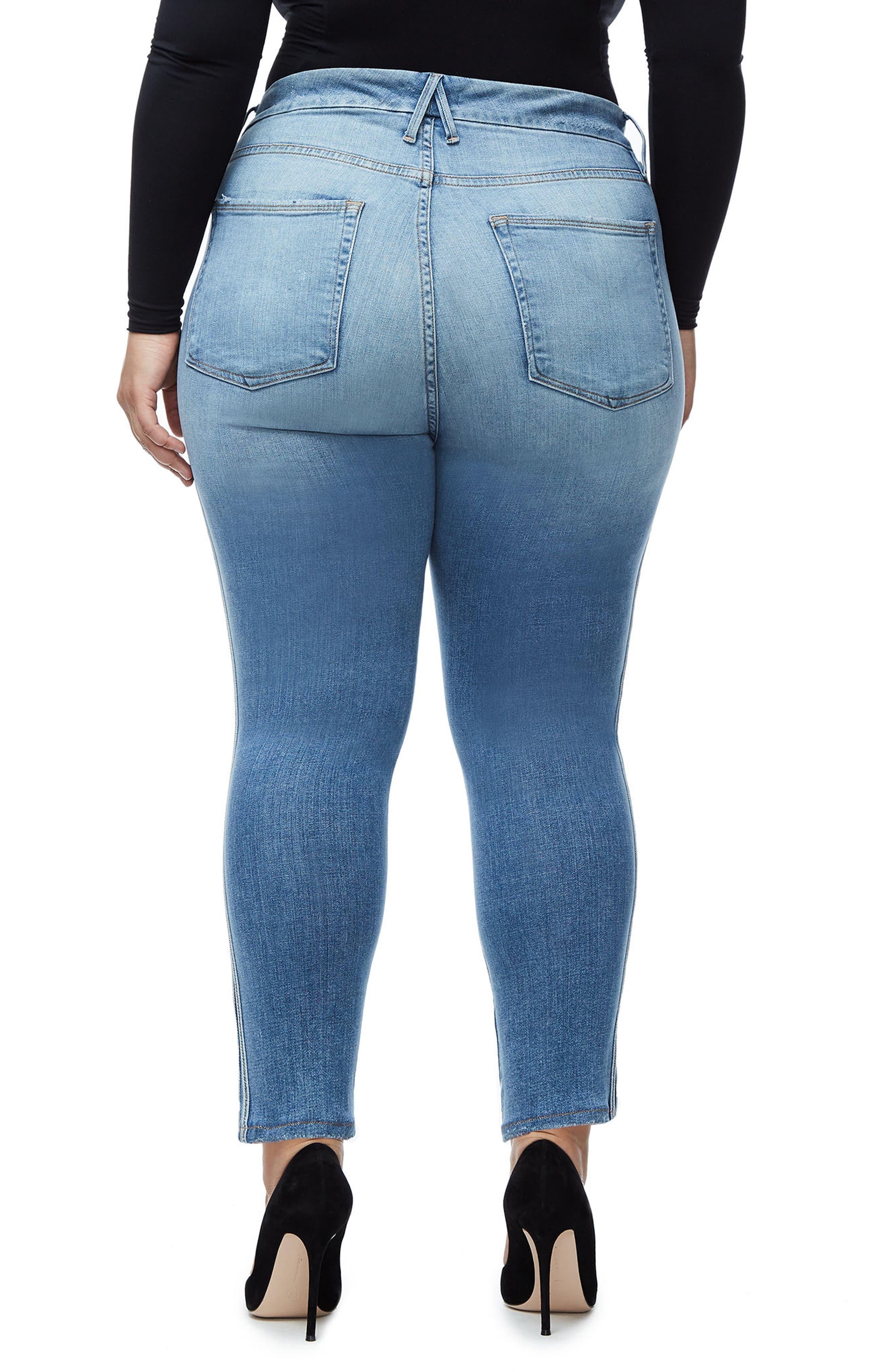 Good Waist Athletic Stripe High Waist Ankle Straight Leg Jeans,                             Alternate thumbnail 6, color,                             Blue121