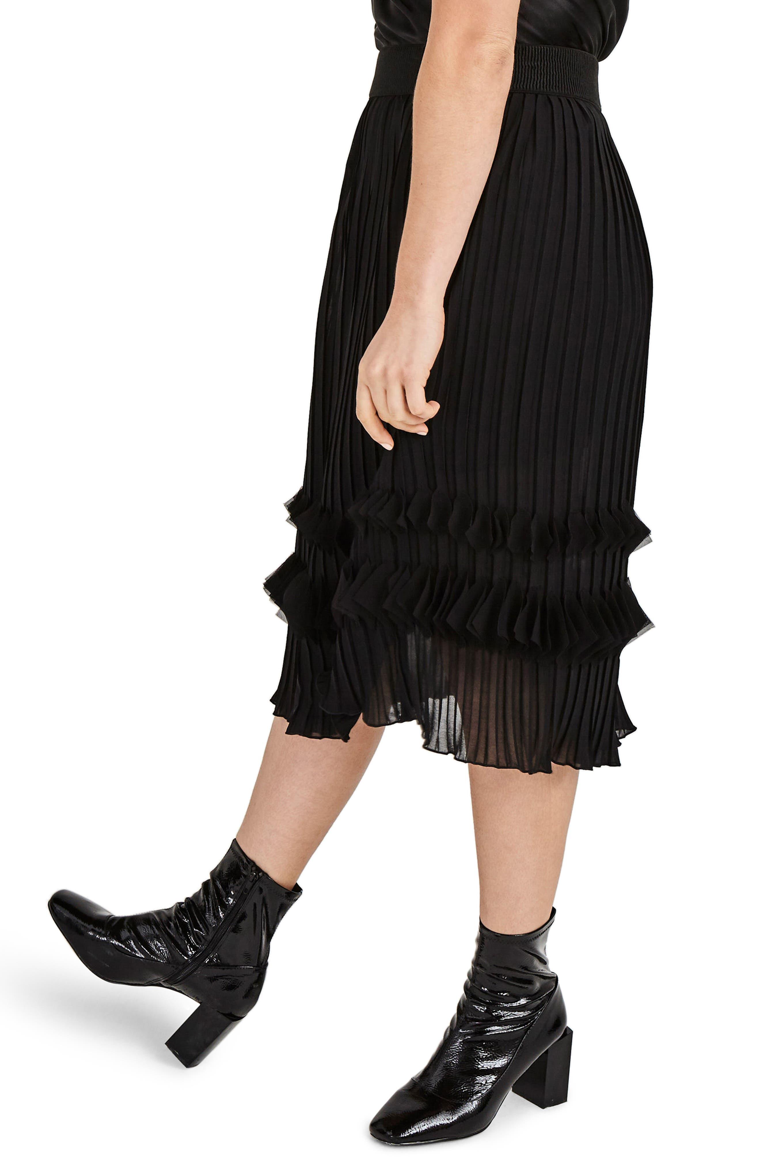 Alternate Image 3  - ELVI Pleated Chiffon Midi Skirt (Plus Size)