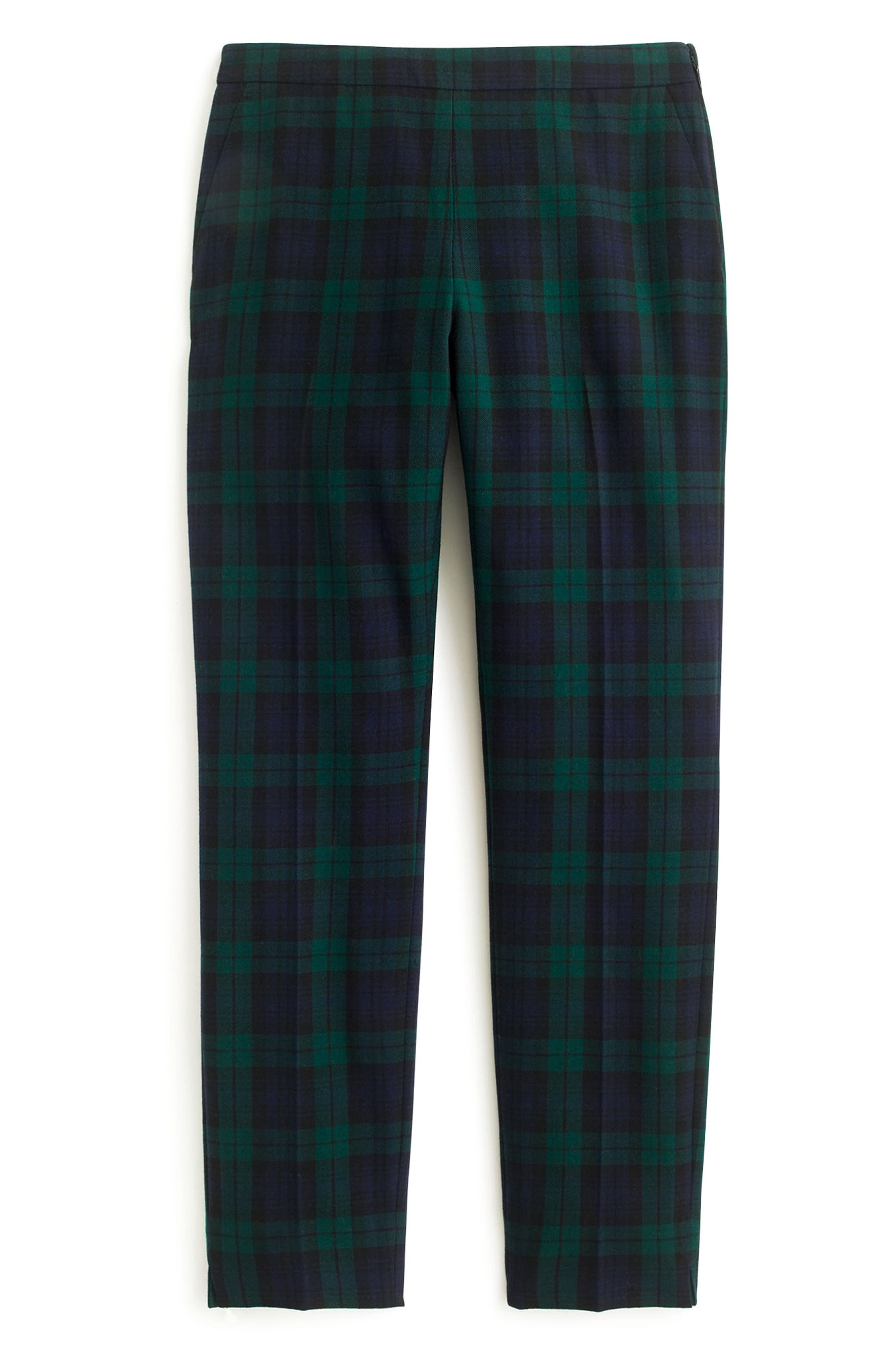 J.Crew Martie Black Watch Stretch Wool Blend Crop Pants,                         Main,                         color, Navy Multi
