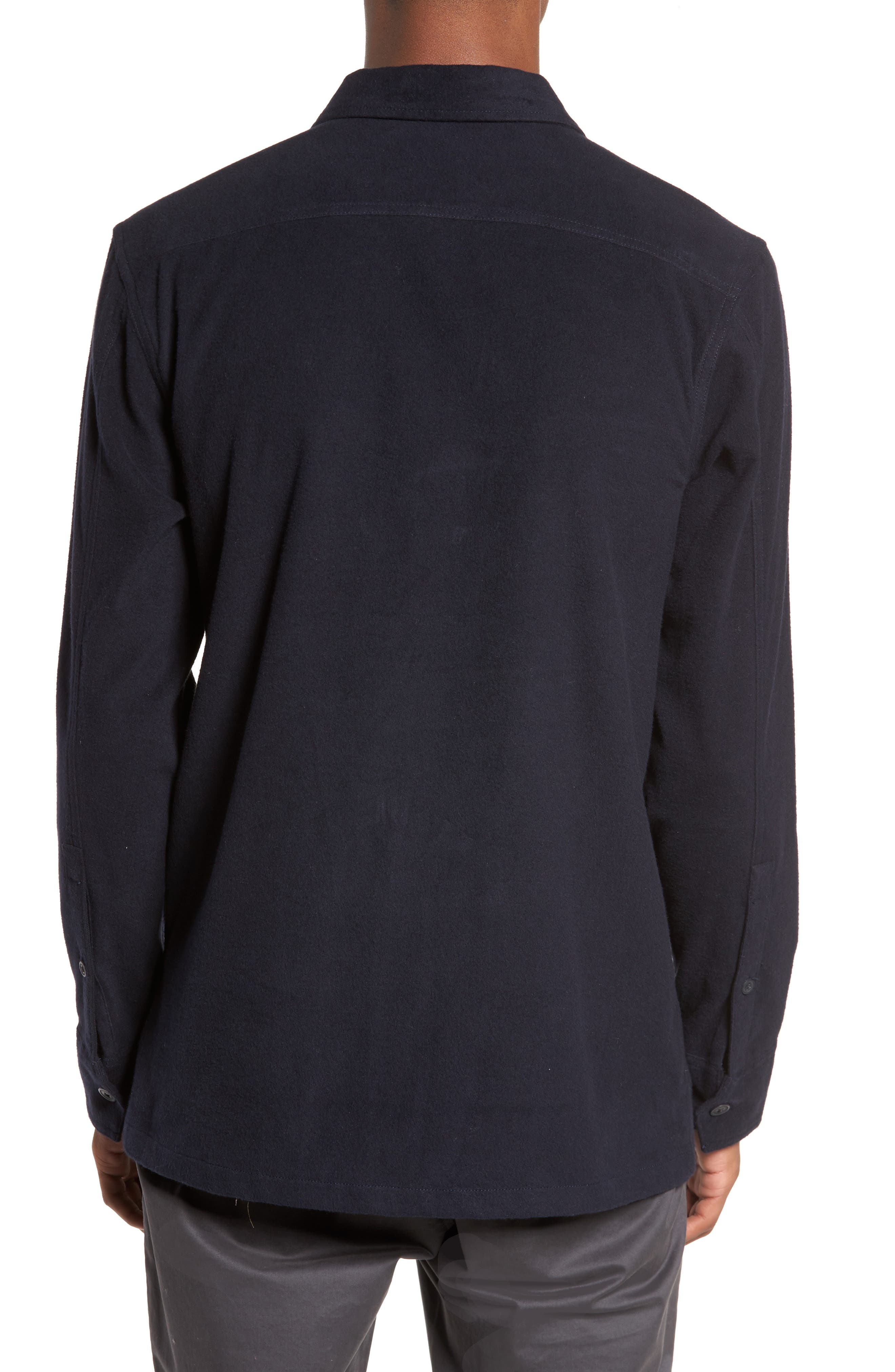 Flannel Shirt Jacket,                             Alternate thumbnail 3, color,                             Navy Iris