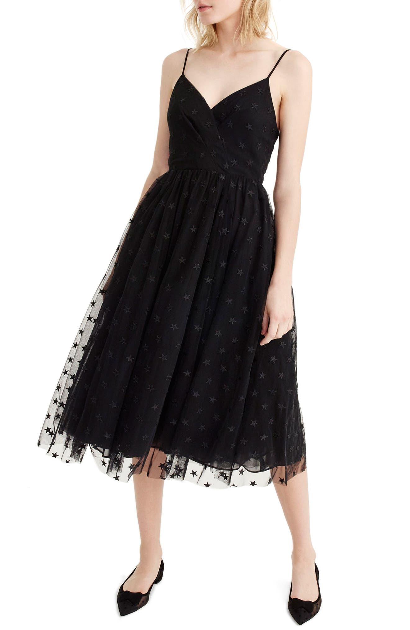 J.Crew Spaghetti Strap Star Tulle Dress,                             Main thumbnail 1, color,                             Black