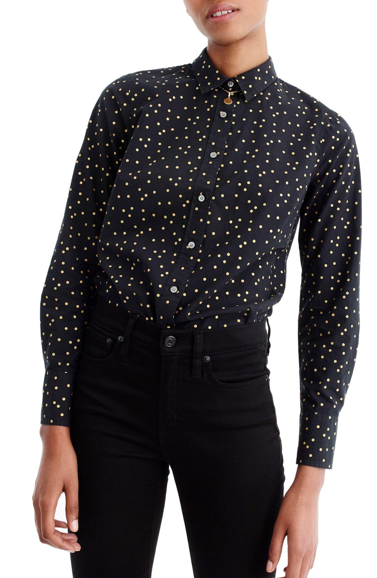 Heather Flannel Foil Dot Perfect Shirt,                         Main,                         color, Warm Charcoal